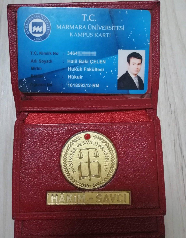 The forged prosecutor's ID card of Halil Baki Çelen, Denizli, Turkey, May 5, 2021. (DHA Photo)