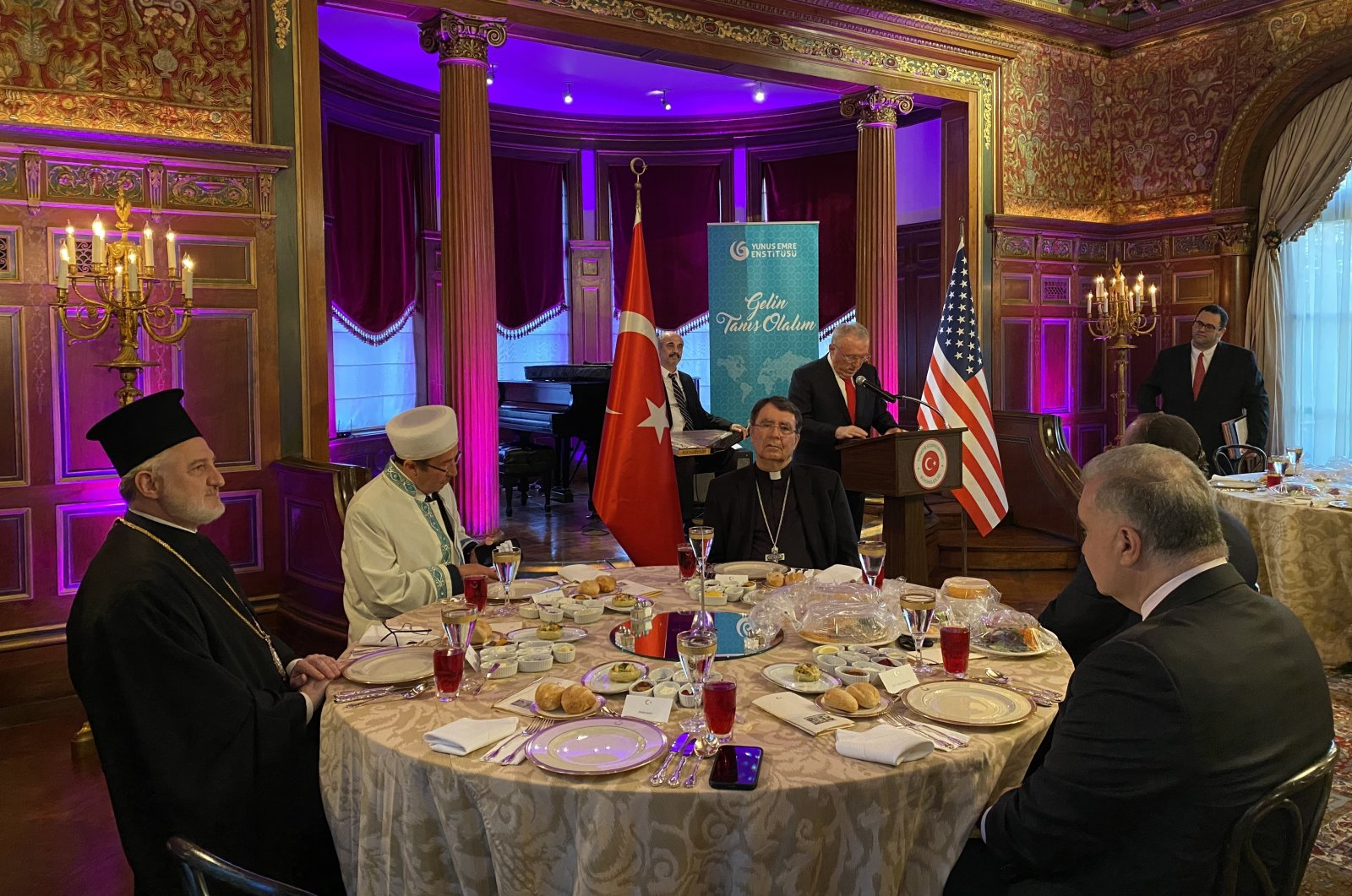 Representatives of religious communities attend the iftar dinner hosted by Turkey's ambassador Hasan Murat Mercan in Washington, U.S., May 4, 2021. (AA Photo)