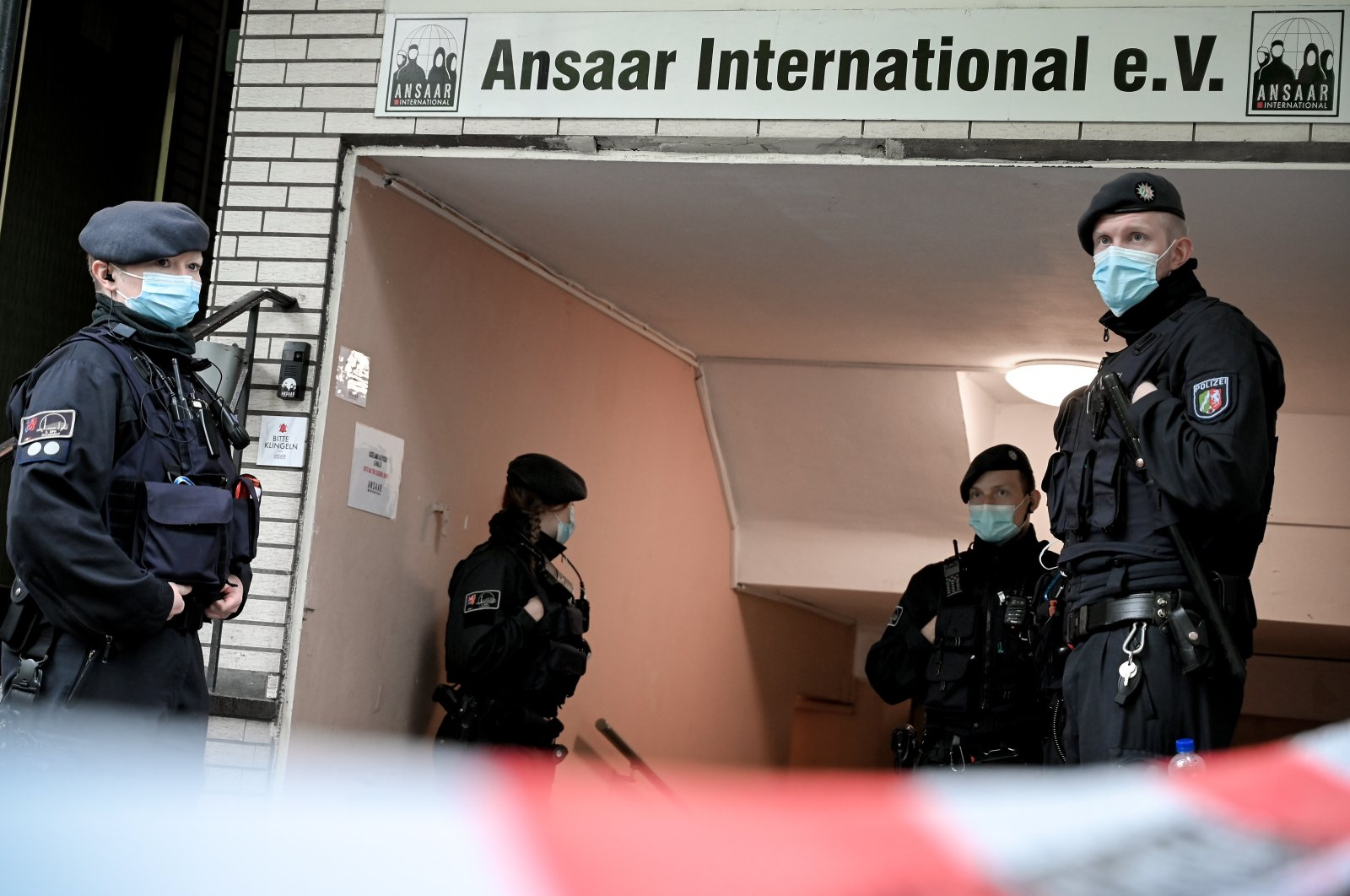 Police search the premises of the Ansaar International aid organization in Duesseldorf, Germany, May 5, 2021. (EPA Photo)