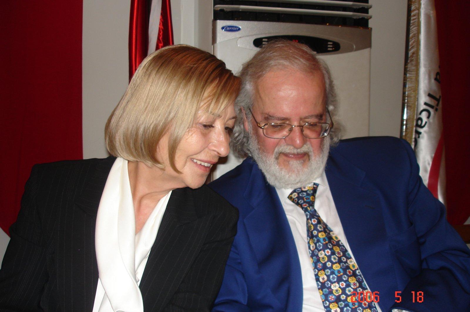 Emine Işınsu Öksüz (L) chats with her husband Professor Iskender Öksüz at an event, May 18, 2006. (AA Photo)
