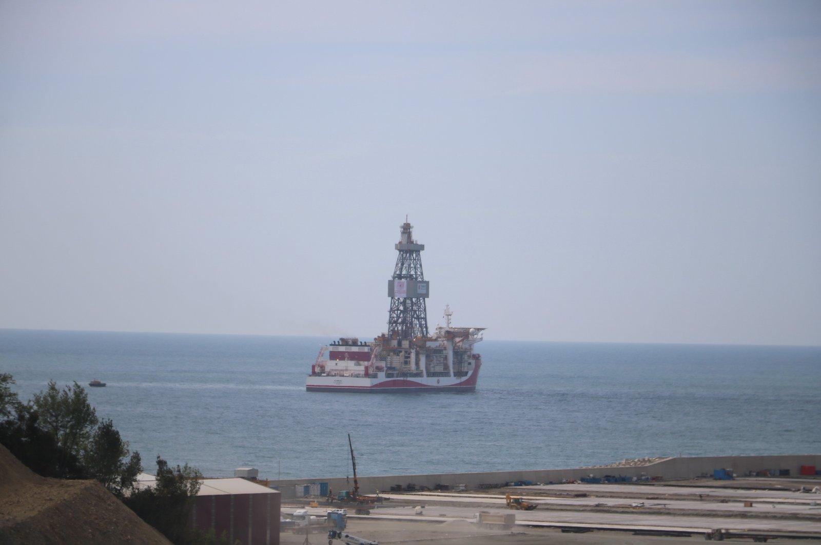 The Kanuni drillship is seen off the Port of Filyos in northern Zonguldak province, Turkey, May 4, 2021. (IHA Photo)