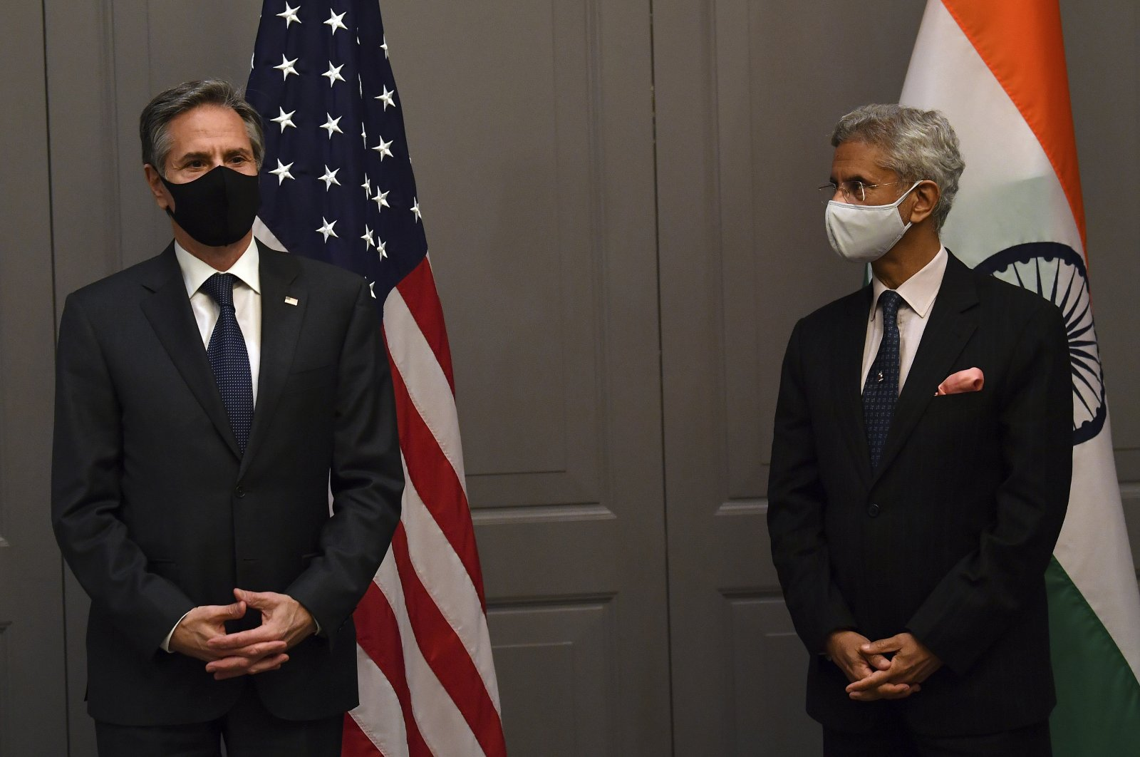 India's Foreign Minister Subrahmanyam Jaishankar (R) attends a press conference with U.S. Secretary of State Antony Blinken following a bilateral meeting in London, U.K., May 3, 2021. (AP Photo)