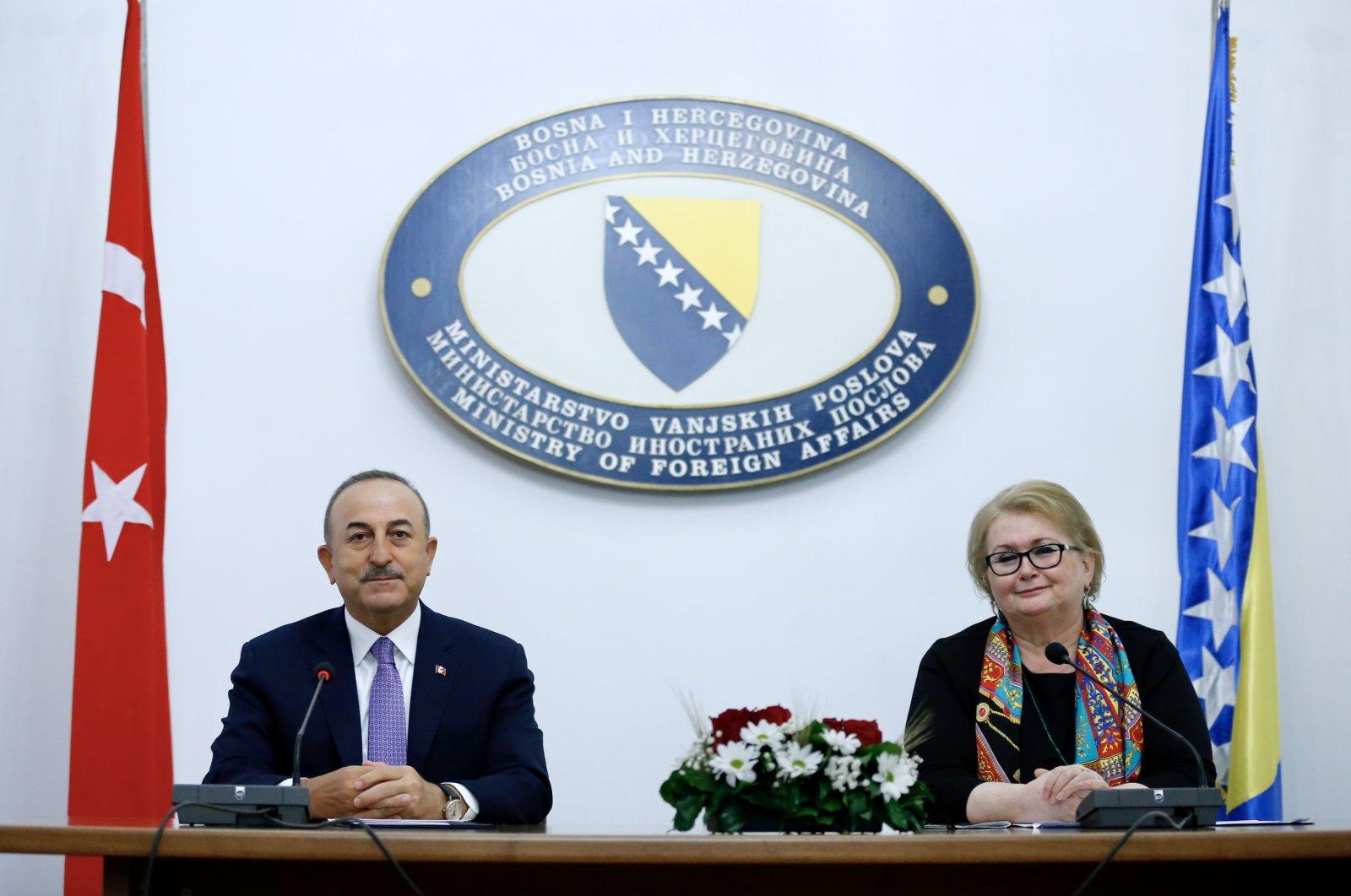 Foreign Minister Mevlüt Çavuşoğlu (L) and Bosnia-Herzegovina's Foreign Minister Bisera Turkovic speak at a joint press conference in Sarajevo, Bosnia and Herzegovina, May 5, 2021. (AA Photo)