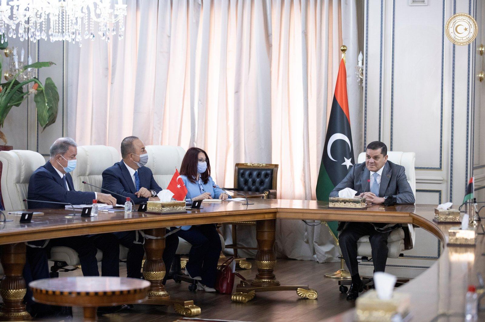 Turkish Foreign Minister Mevlüt Çavuşoğlu meets with Libyan Prime Minister Abdul Hamid Dbeibah, in Tripoli, Libya, May 3, 2021. (Reuters Photo)