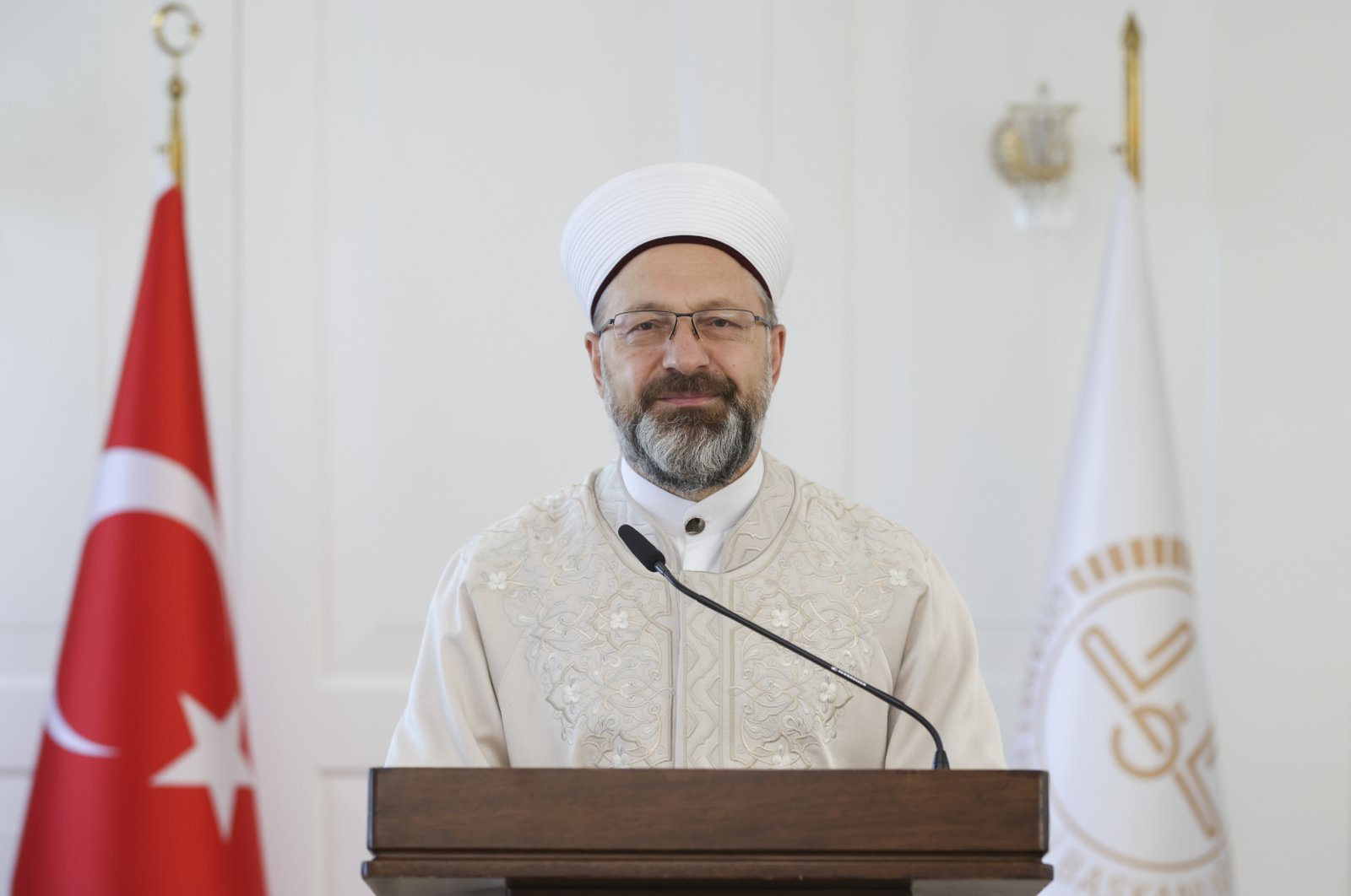 Diyanet President Ali Erbaş speaks at an online meeting with imams and muftis, in Ankara, Turkey, April 27, 2021. (AA Photo)