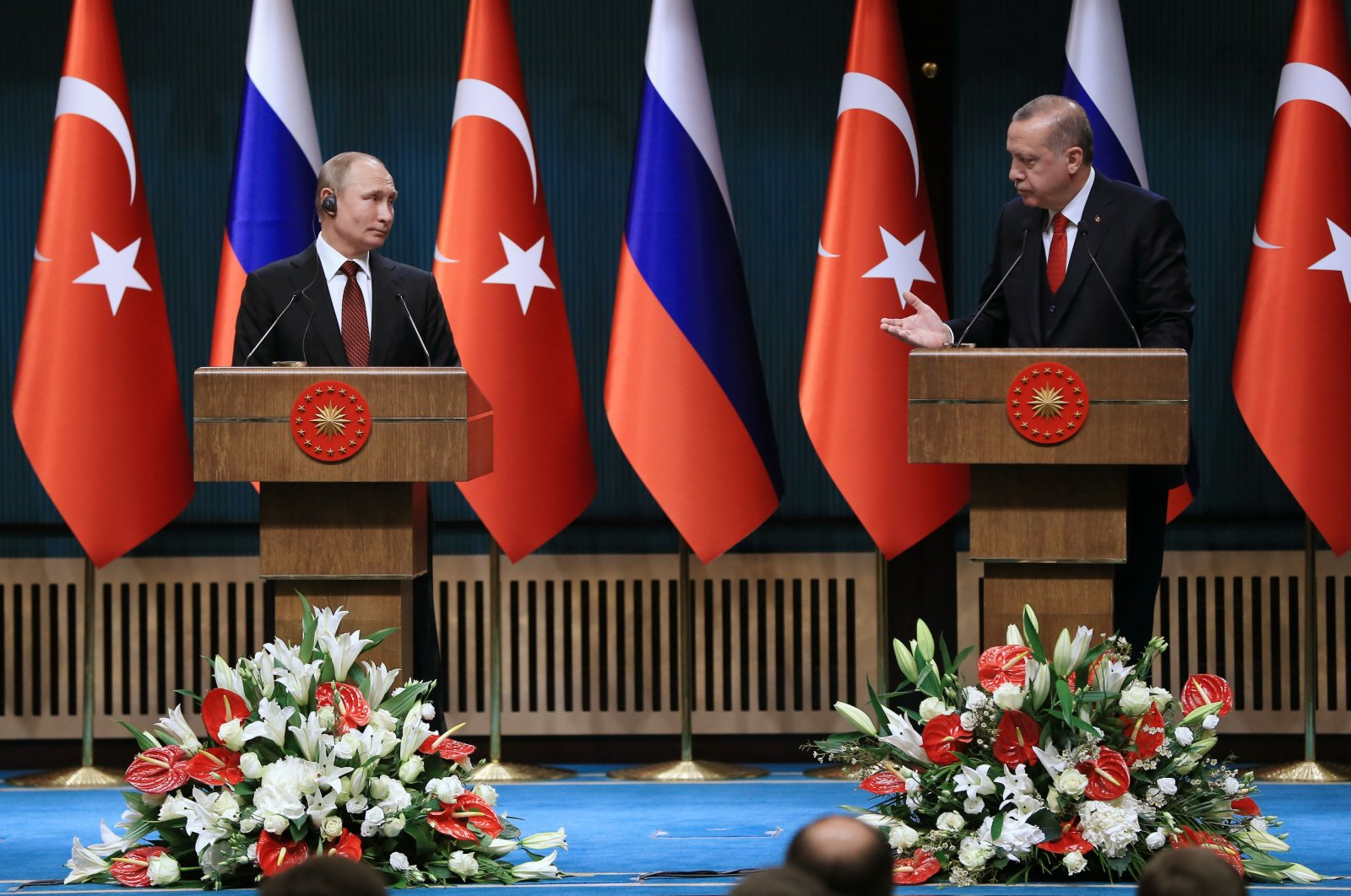 President Recep Tayyip Erdoğan (R) and Russian President Vladimir Putin in the capital Ankara, Turkey, April 3, 2018. (AA Photo).