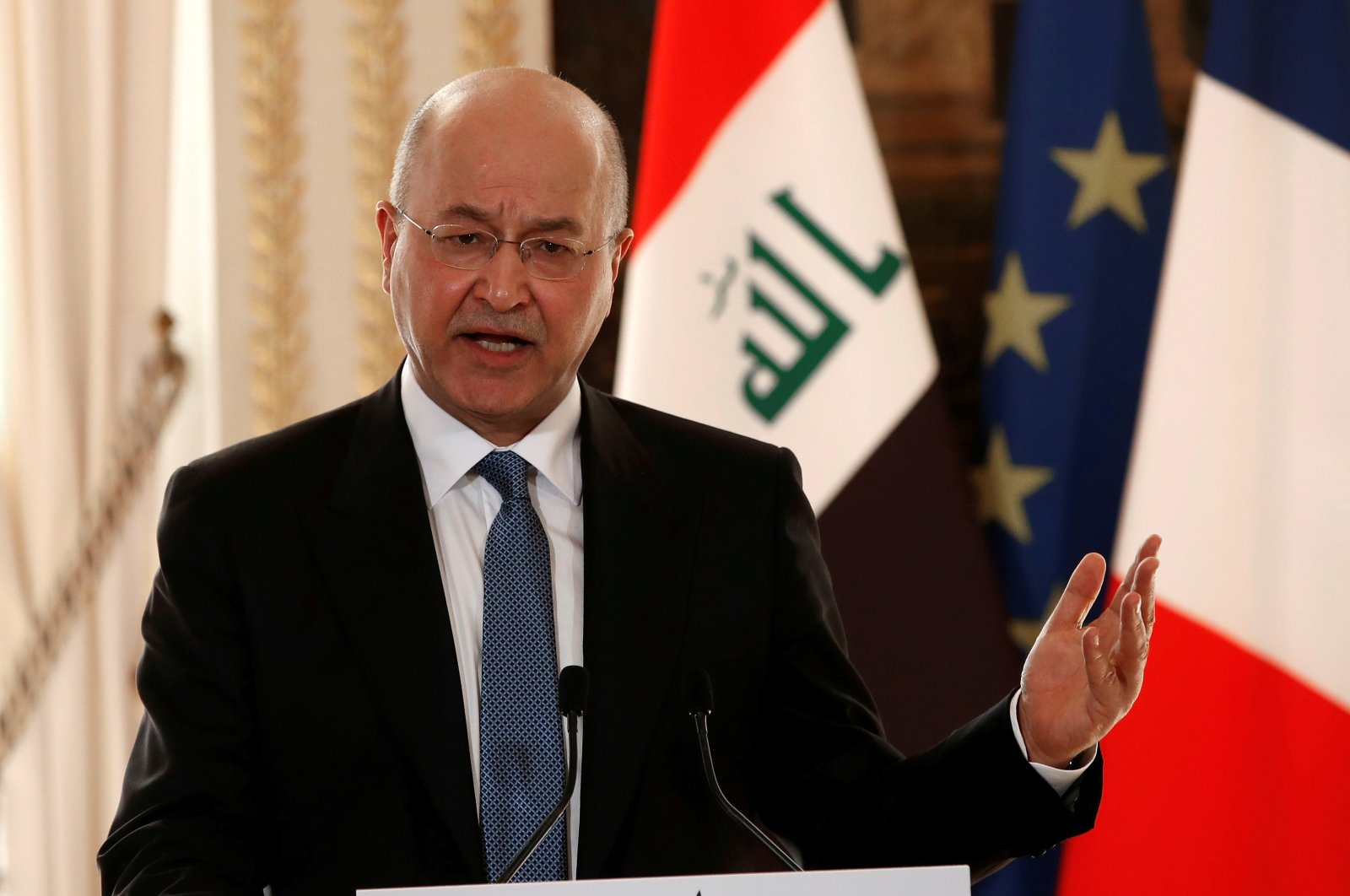 Iraqi President Barham Salih speaks during a news conference at the Elysee Palace in Paris, France, February 25, 2019. (Reuters File Photo)