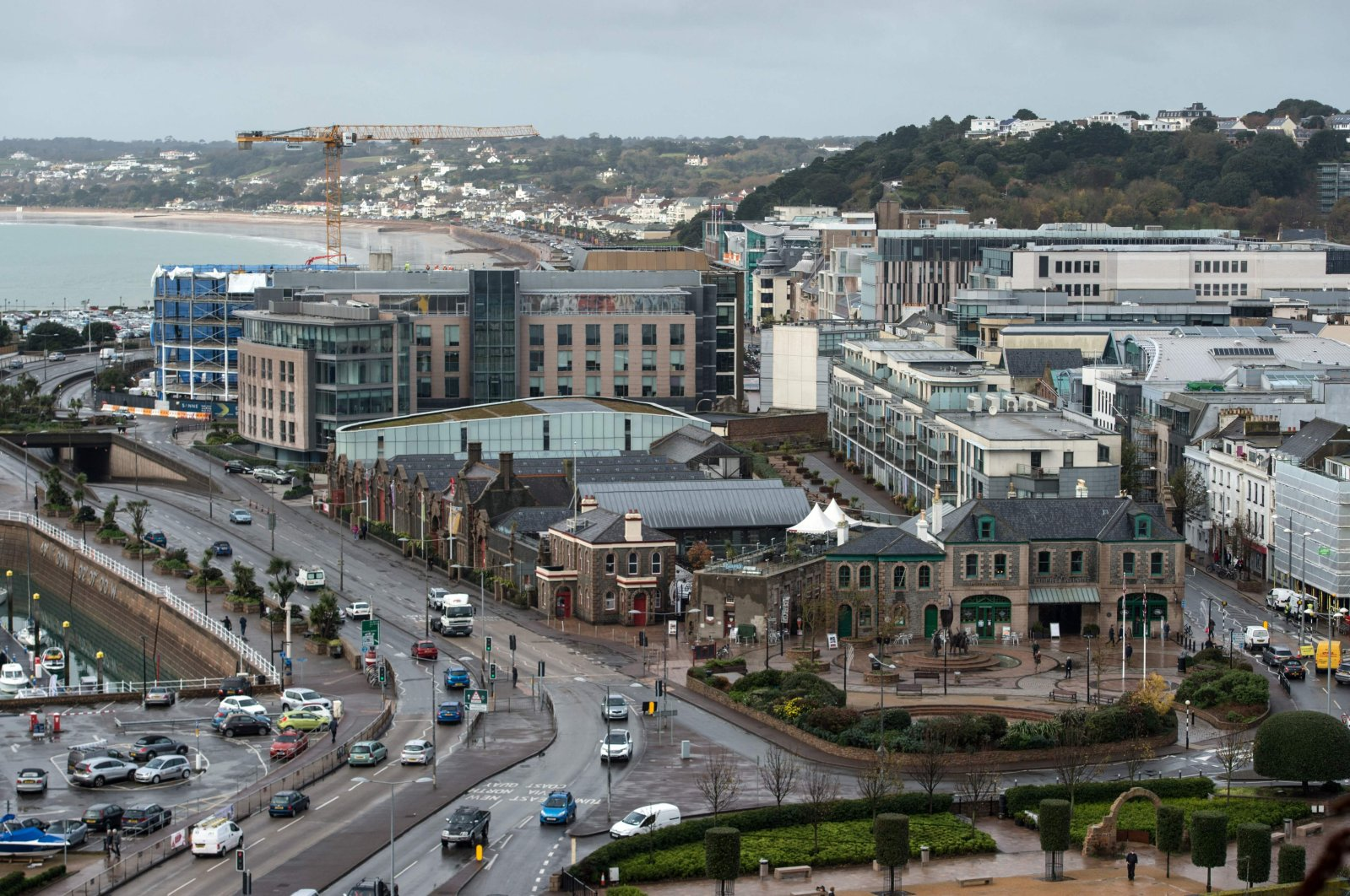 Office and residential buildings are pictured in front of the beach and seafront in St. Helier, on the British island of Jersey, Nov. 9, 2017, Jersey, U.K. (AFP Photo)
