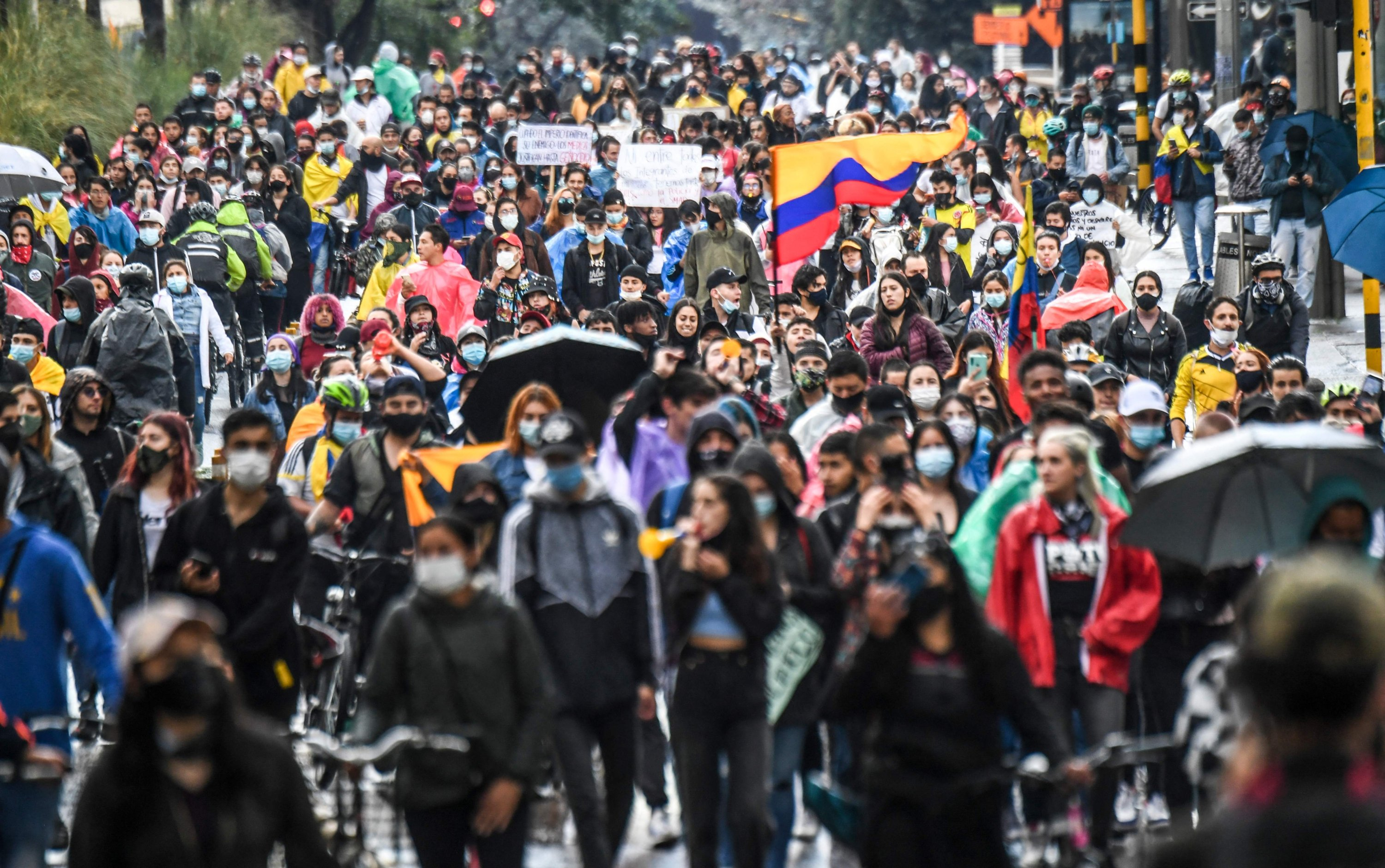 Demonstrators take part in a protest in Bogota, Columbia, May 4, 2021. (AFP Photo)