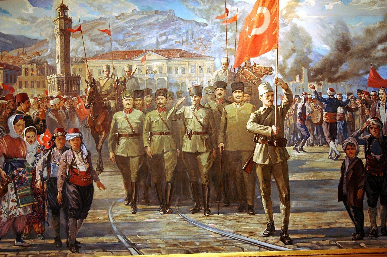 A painting describing The Turkish Army's entry into Izmir as part of the Turkish War of Independence.