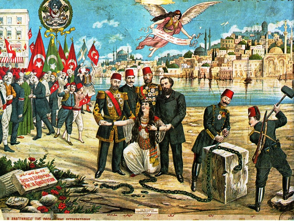 A Greek lithograph celebrating the Young Turk revolt in 1908 and the re-introduction of a constitutional regime in the Ottoman Empire.