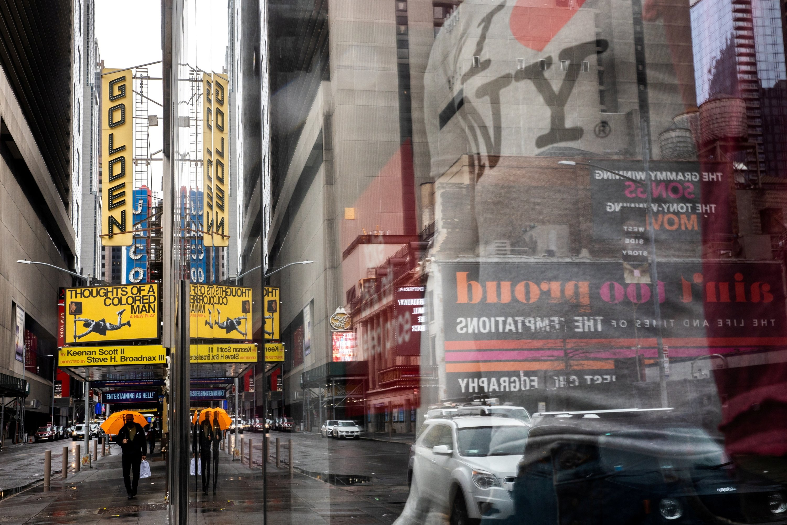 A man walks outside the shuttered John Golden Theatre amid the COVID-19 pandemic in New York City, U.S., April 12, 2021. (Reuters Photo)