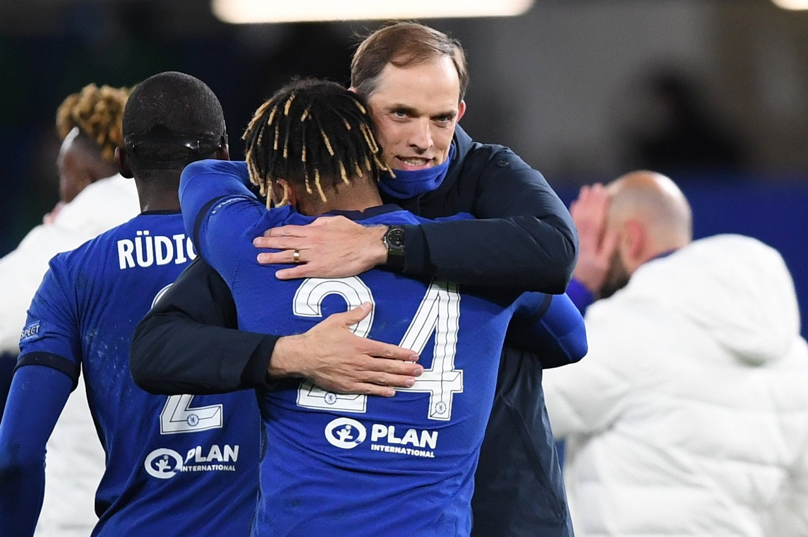 Chelsea manager Thomas Tuchel celebrates with player Reece James after winning the UEFA Champions League semi final, second leg soccer match between Chelsea FC and Real Madrid in London, Britain, 05 May 2021. (EPA Photo)