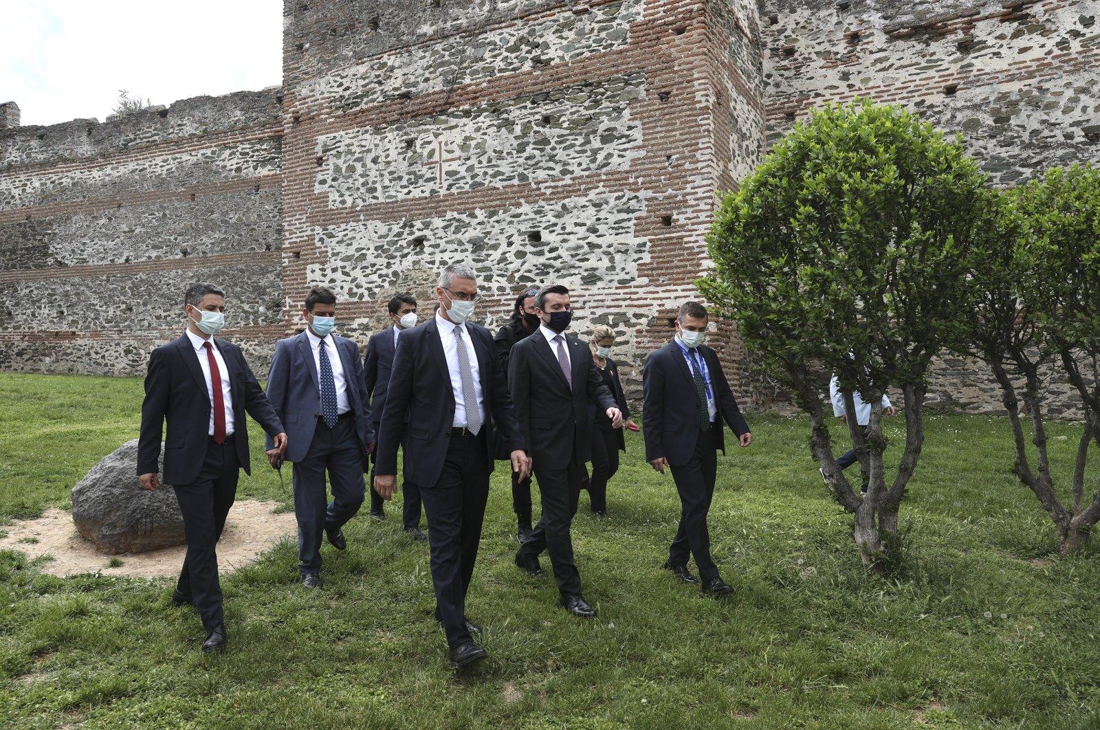 Deputy Foreign Minister Yavuz Selim Kıran (C) visits the Hamidiye Mosque in Thessaloniki, Greece, May 5, 2021. (AA Photo)