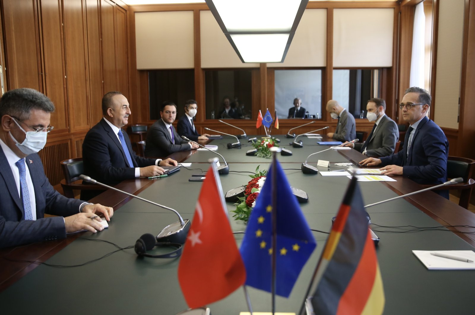 Foreign Minister Mevlüt Çavuşoğlu attends a meeting with German Counterpart Heiko Maas in Berlin, Germany, May 6, 2021. (AA Photo)