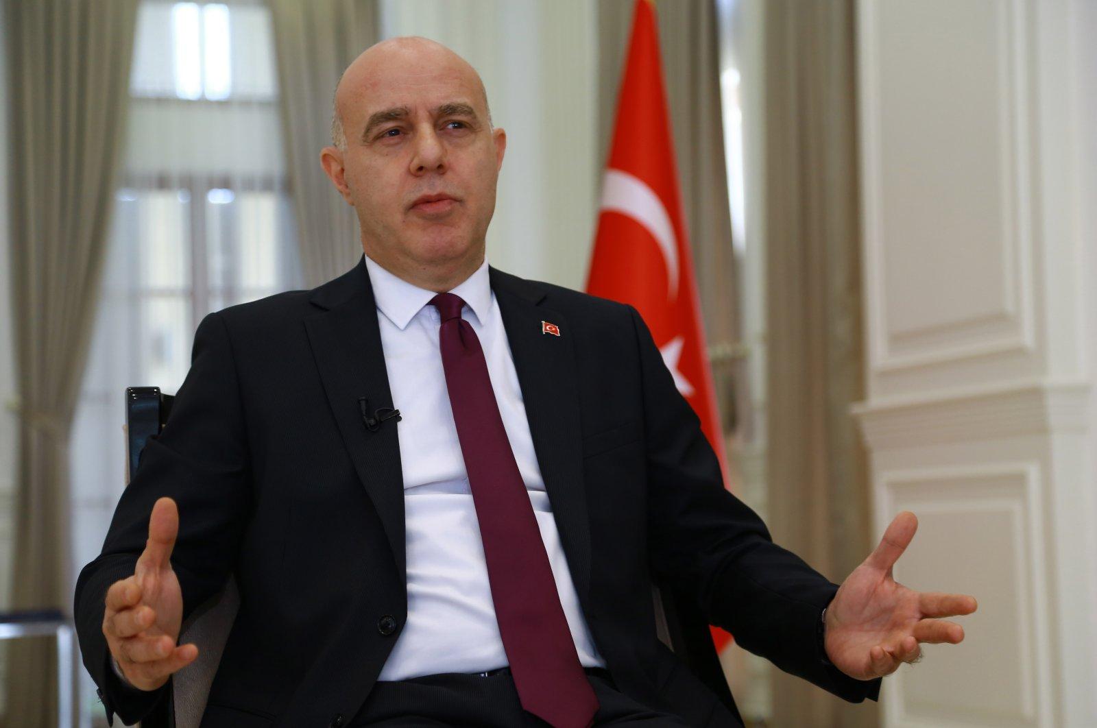 Ali Rıza Güney, Turkey's ambassador to Baghdad, speaks during an interview in Baghdad, Iraq, May 6, 2021. (AA Photo)
