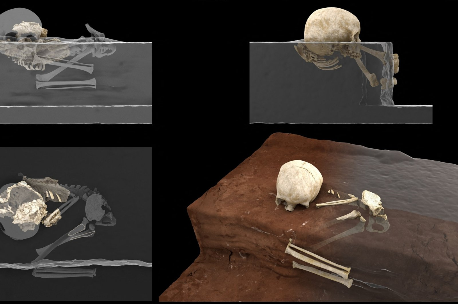 """This handout computer-generated image released on May 4, 2021, by the CNRS-University of Bordeaux, shows the remains of a 3-year-old child named by the scientists """"Mtoto"""" (meaning """"child"""" in Swahili) and buried inside a deliberately dug pit, were discovered by archaeologists.  (AFP Photo /FRANCESCO D'ERRICO AND ALAIN QUEFFELEC/CNRS-UNIVERSITY OF BORDEAUX)"""