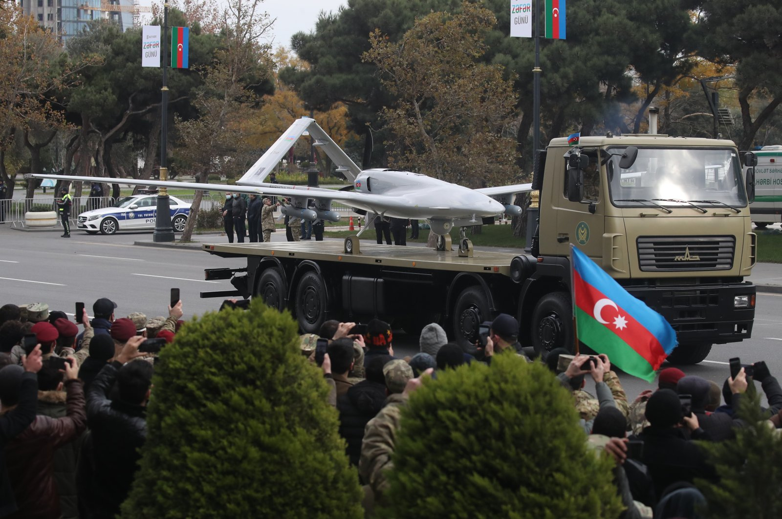 A Bayraktar TB2 unmanned combat reconnaissance aerial vehicle manufactured by Turkey's Baykar Makina takes part in a military parade marking the end of the Nagorno Karabakh military conflict, Baku, Azerbaijan, Dec. 10, 2020. (GettyImages)
