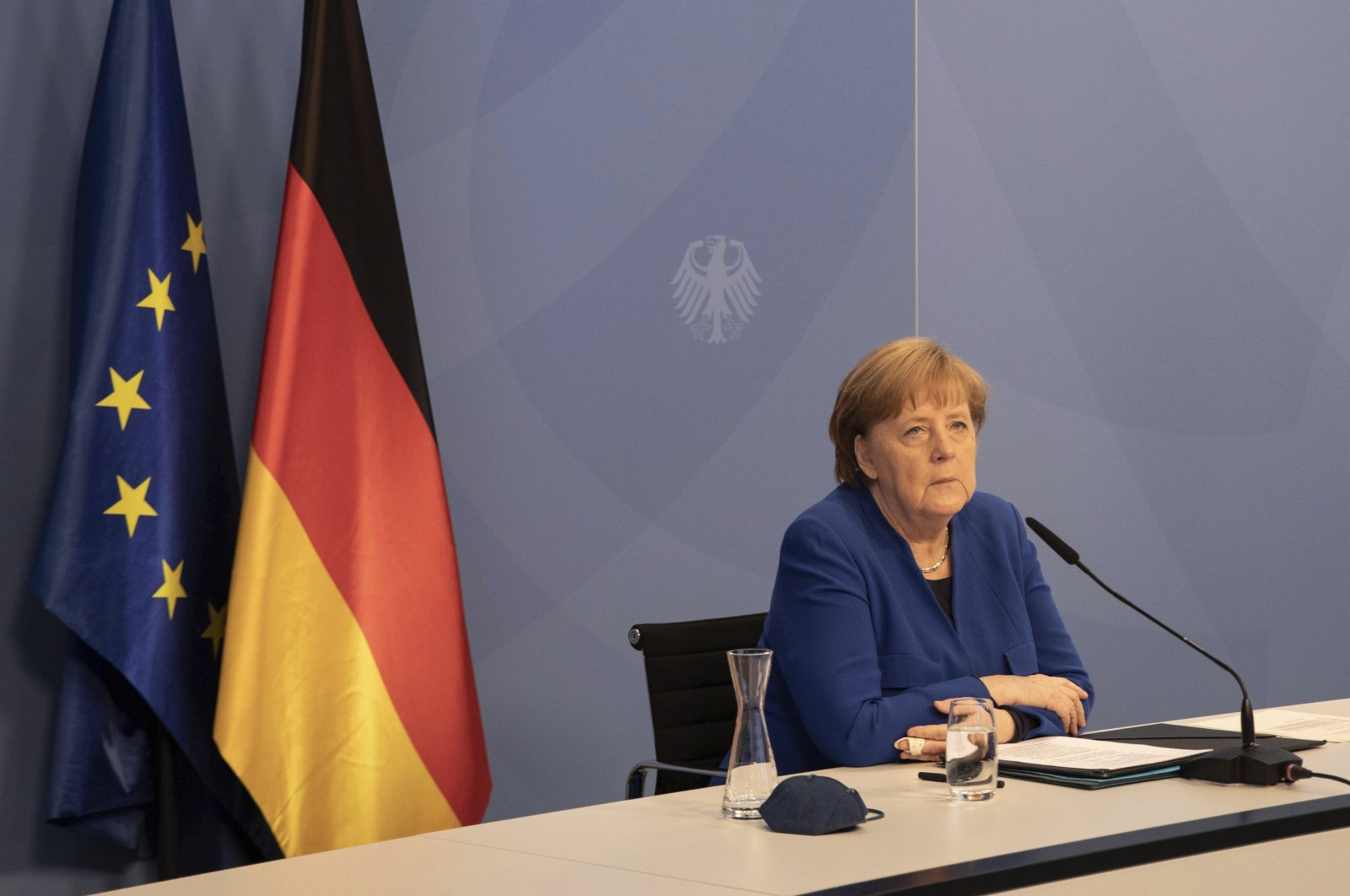 German Chancellor Angela Merkel attends the 12th meeting of the Petersberg Climate Dialogue conference held virtually in Berlin, Germany, May 6, 2021. (AP Photo)