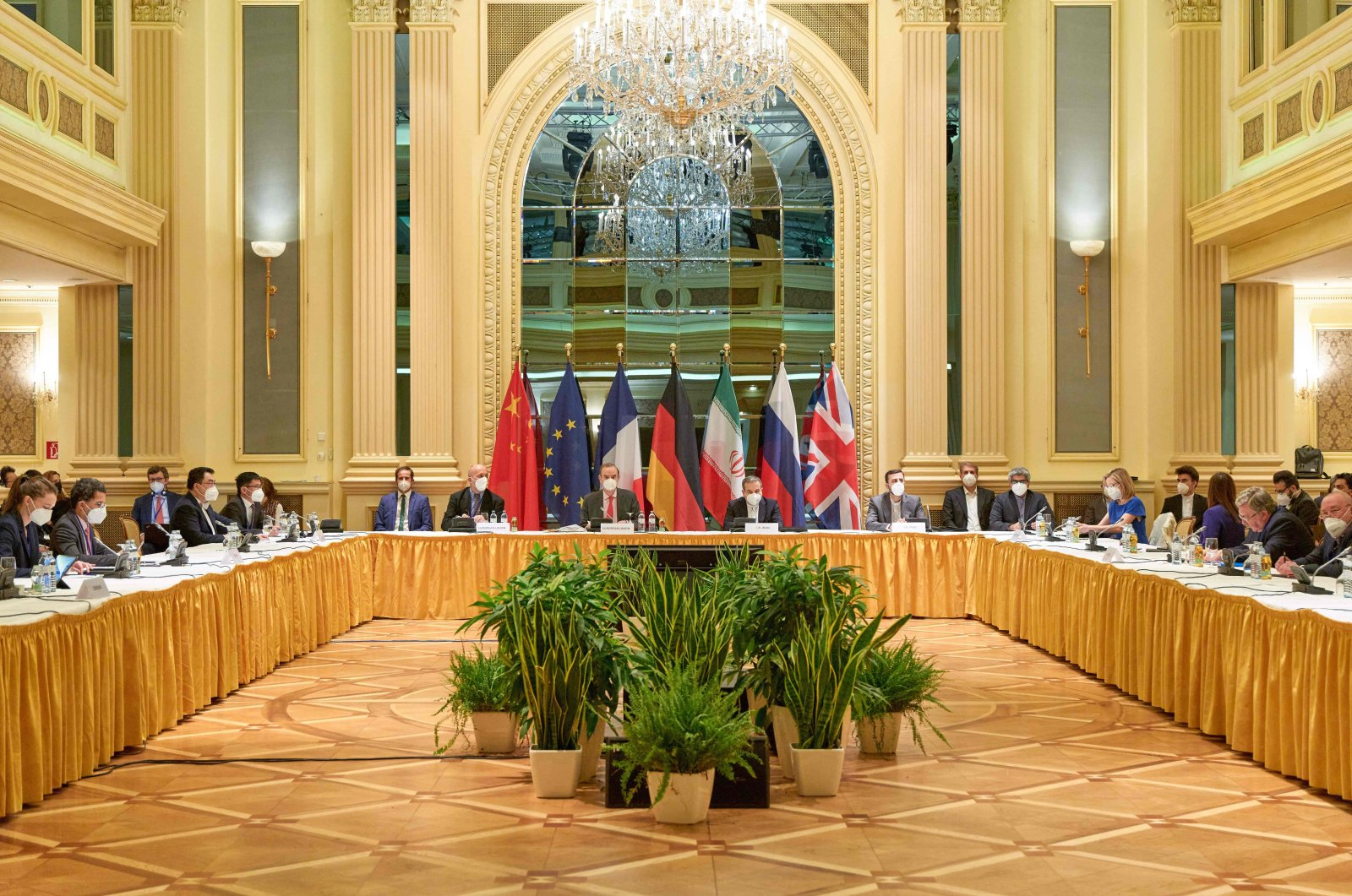 Delegation members from the parties to the Iran nuclear deal – Germany, France, Britain, China, Russia and Iran – attend a meeting at the Grand Hotel of Vienna as they try to restore the deal taken and released by the EU Delegation, Vienna, Austria, April 20, 2021. (Various sources - handout via AFP)
