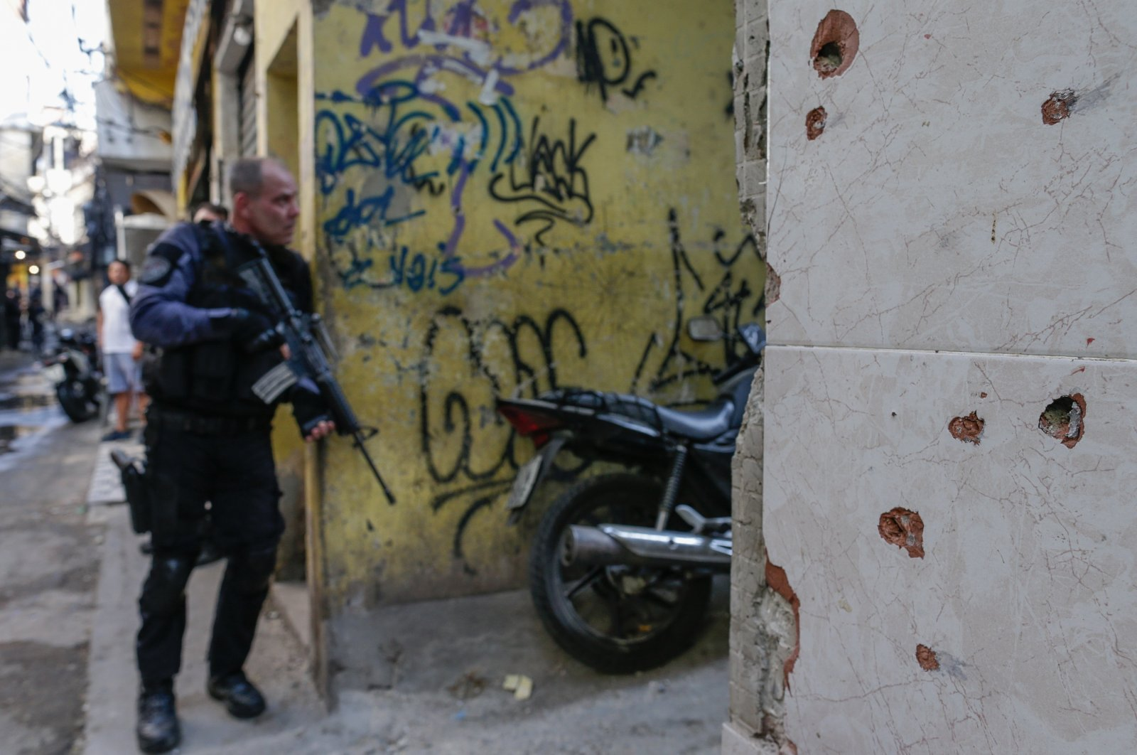 Members of the Police carry out a police operation against a gang of drug traffickers, in a favela of Rio de Janeiro, Brazil, May 6, 2021. (EPA Photo)