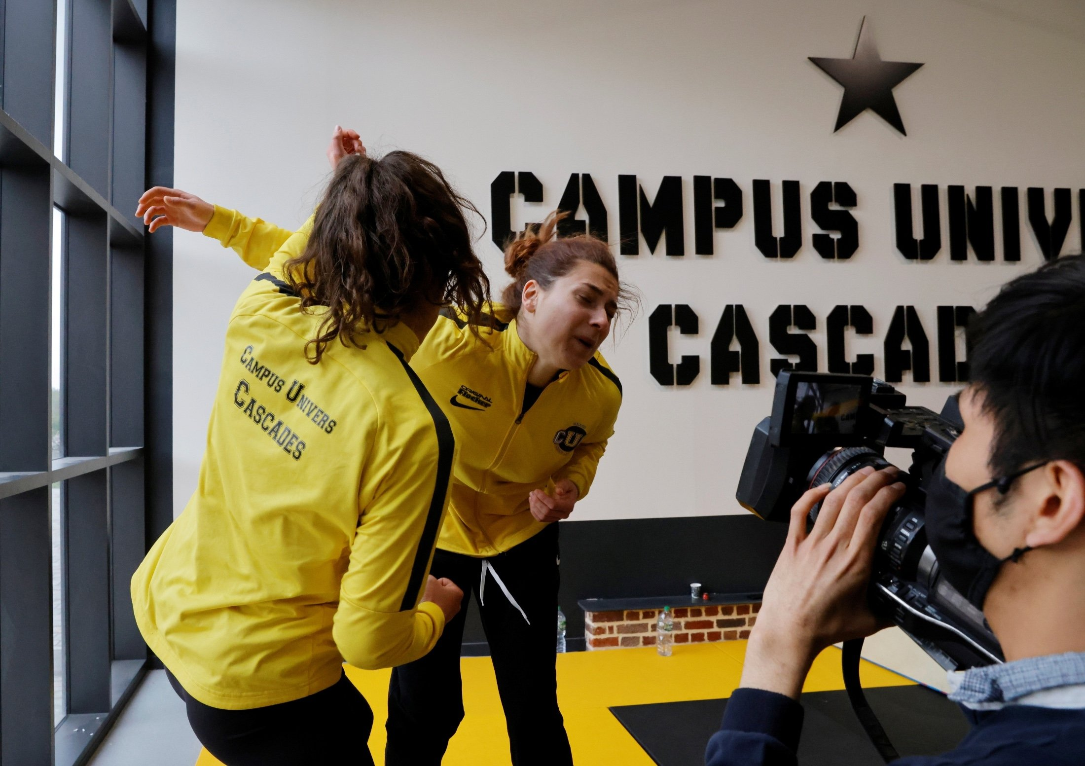 Students Morgane Taillard and Marine Dolle attend a training session at France's Campus Univers Cascade (CUC), a training ground for stuntpeople, in Le Cateau-Cambresis, France, May 4, 2021. (Reuters Photo)