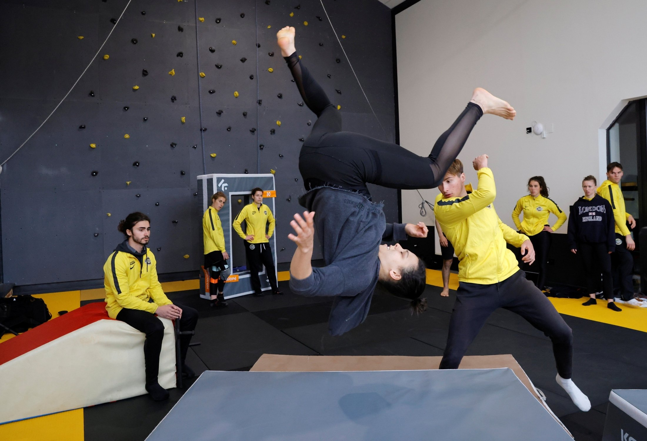 Student Birgui Tall attends a training session at France's Campus Univers Cascade (CUC), a training ground for stuntpeople, in Le Cateau-Cambresis, France, May 4, 2021. (Reuters Photo)