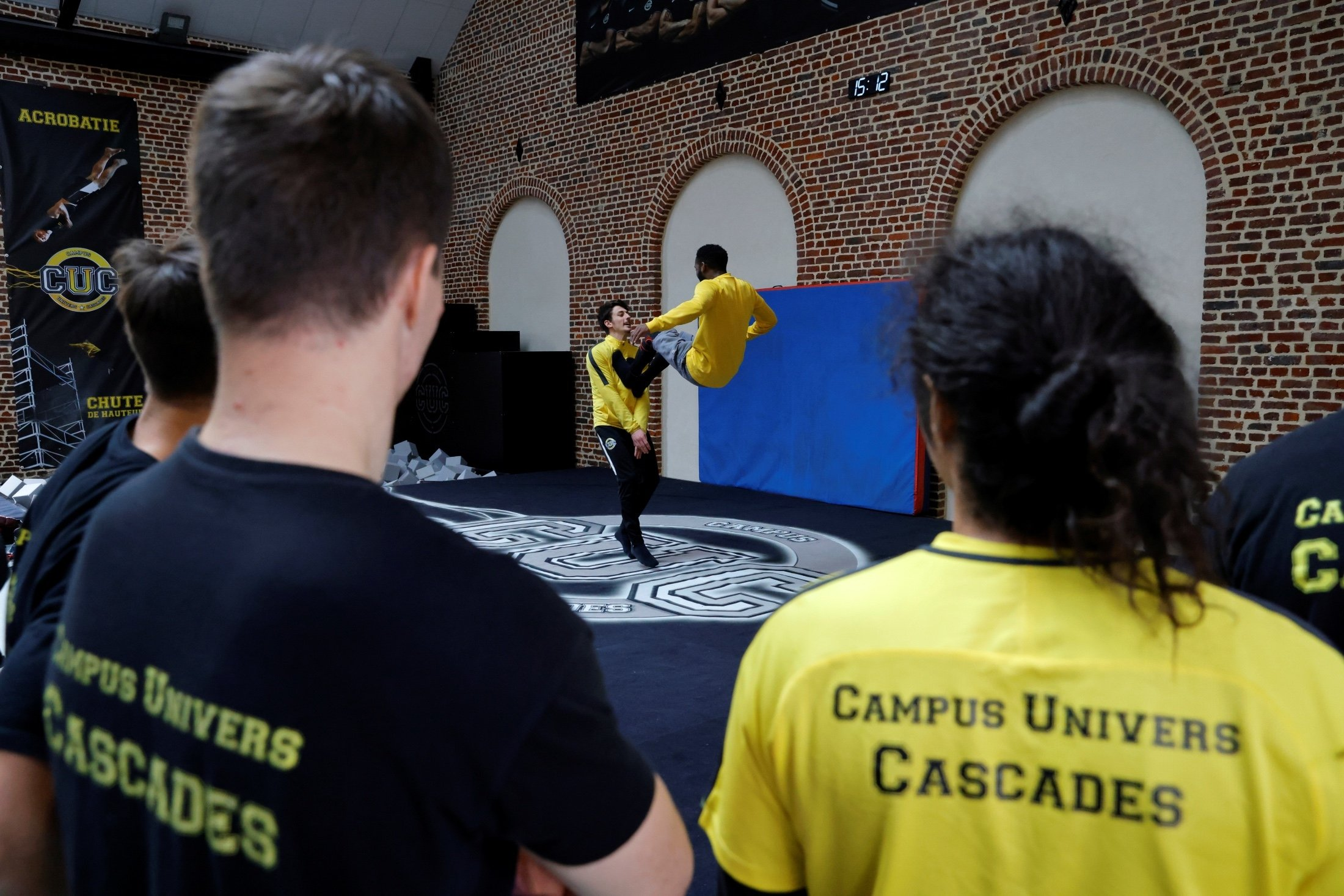 Students attend a fall training session at France's Campus Univers Cascade (CUC), a training ground for stuntpeople, in Le Cateau-Cambresis, France, May 4, 2021. (Reuters Photo)