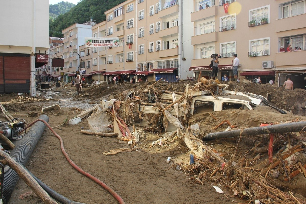 The debris left by a deadly flood in Giresun, northern Turkey, Aug. 24, 2020. (İHA PHOTO)