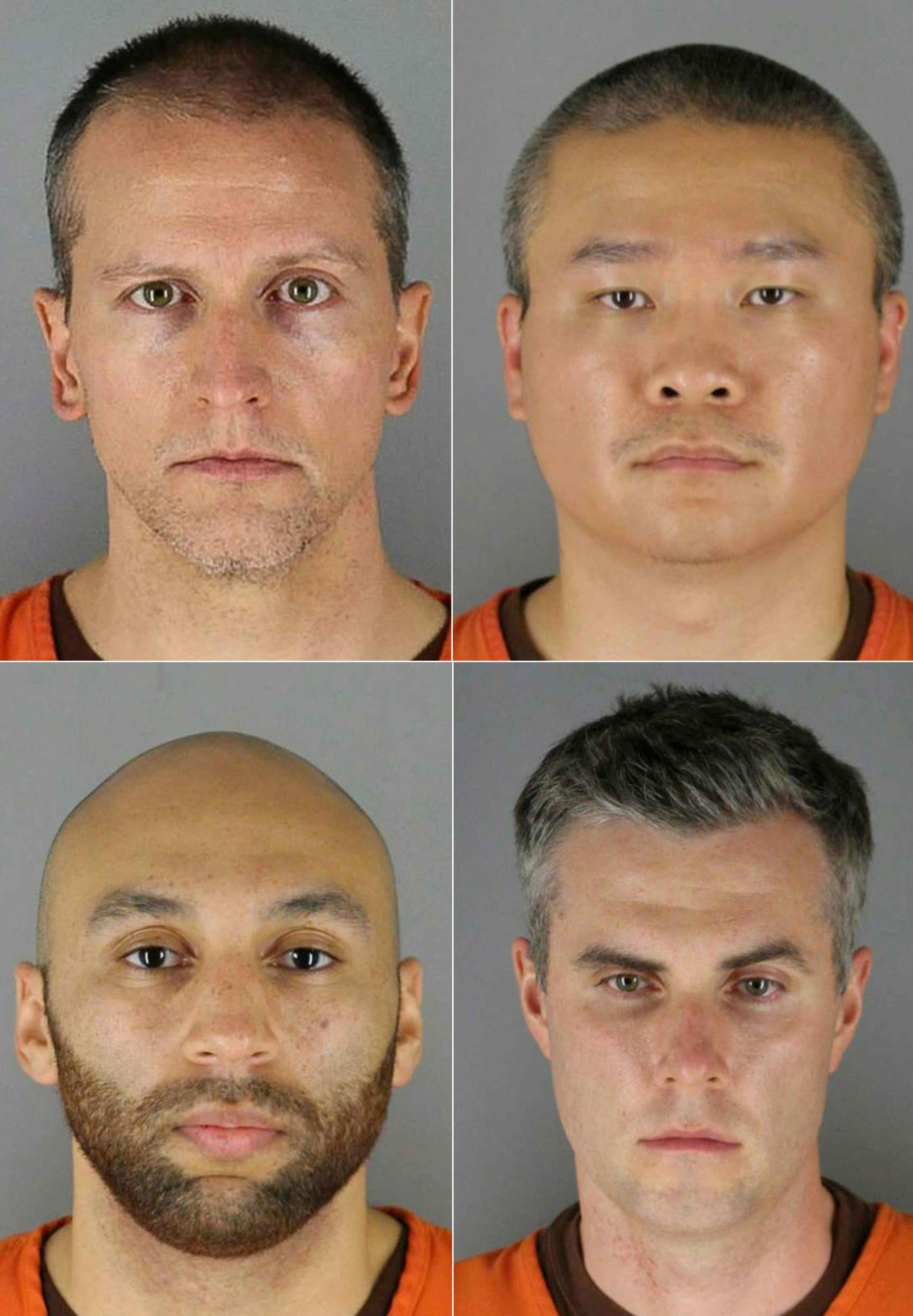 This combination of booking photos provided by the Hennepin County Jail created on June 03, 2020 shows (L-R, top to bottom) former police officers Derek Chauvin, Tou Thao, J. Alexander Kueng and Thomas Kiernan Lane. Minnesota, U.S., May 7, 2021. (Hennepin County Jail handout / AFP Photo)