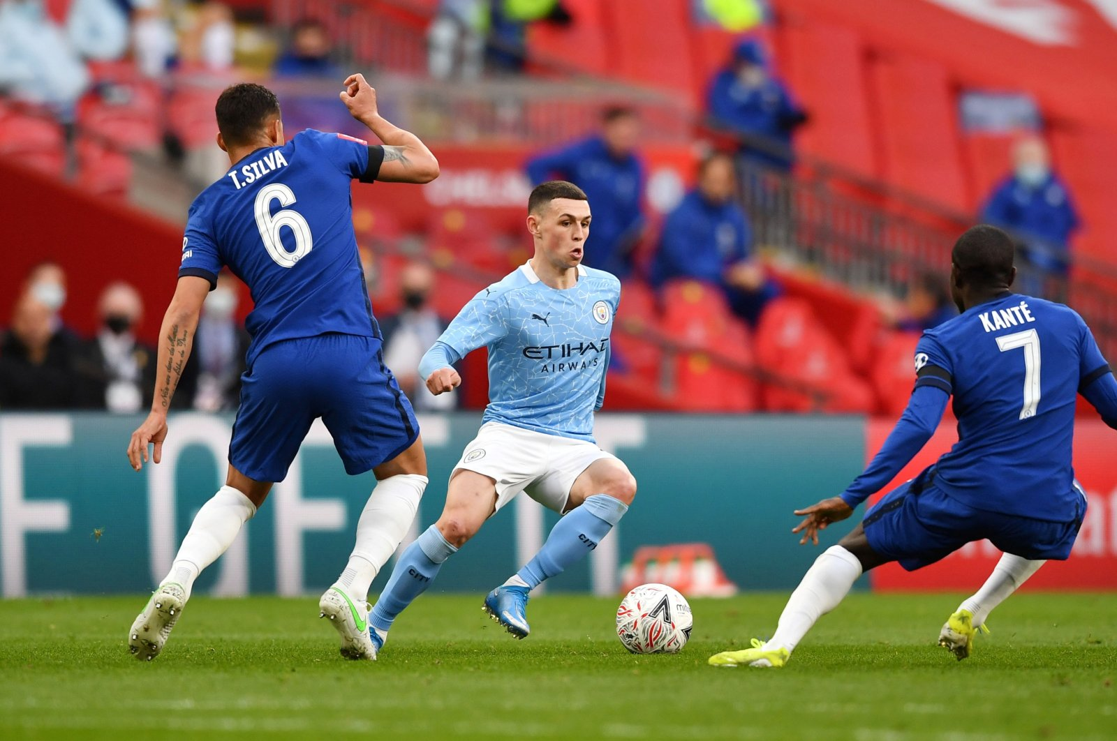 Manchester City's Phil Foden Pool (C) in action during a FA Cup semifinal match against Chelsea at the Wembley Stadium in London, Britain, April 17, 2021. (Reuters Photo)