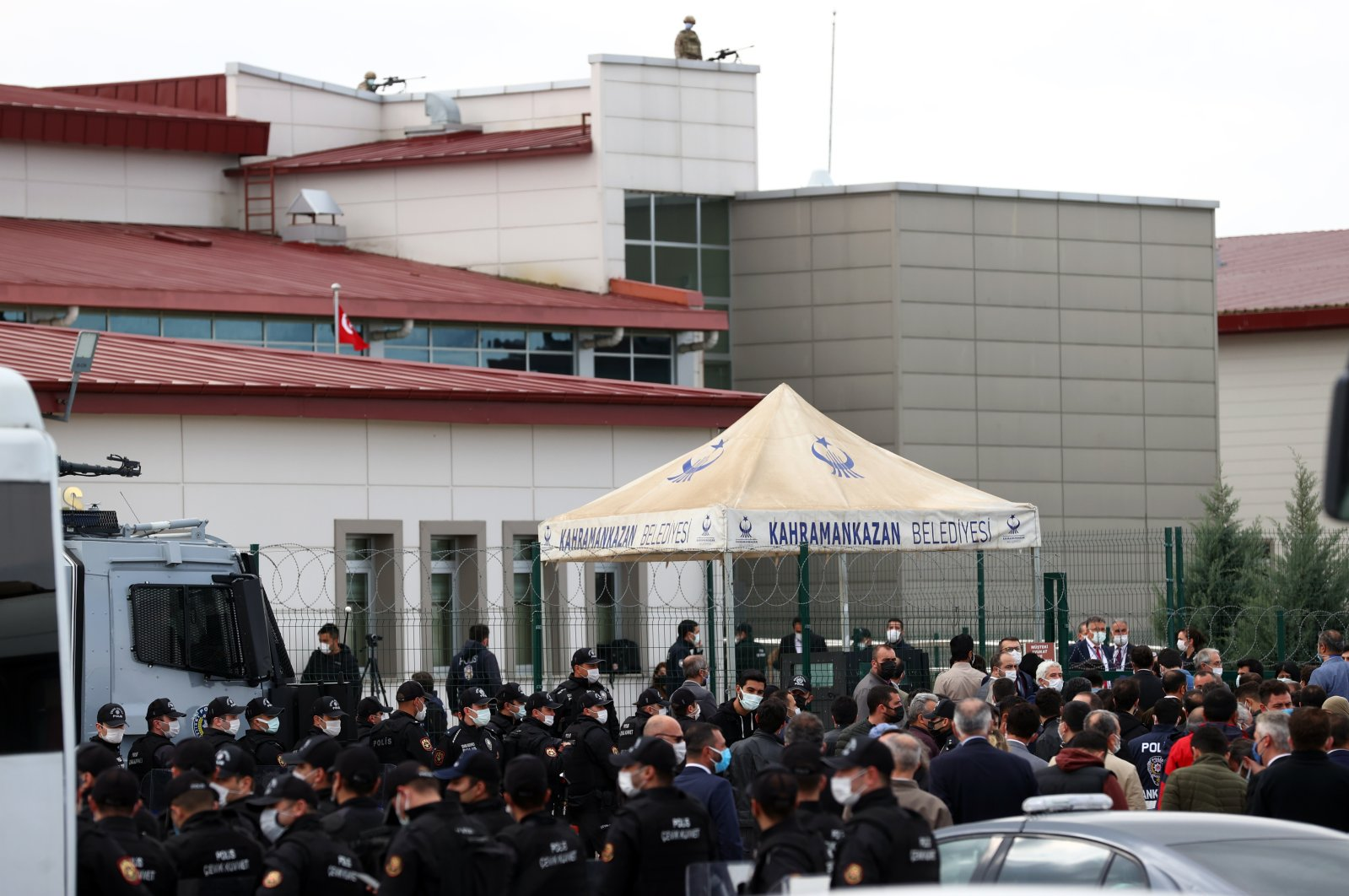 Police officers are on high alert as the trial of 108 suspects, including PKK and HDP figures, begins in the capital Ankara, Turkey, April 26, 2021. (AA Photo)