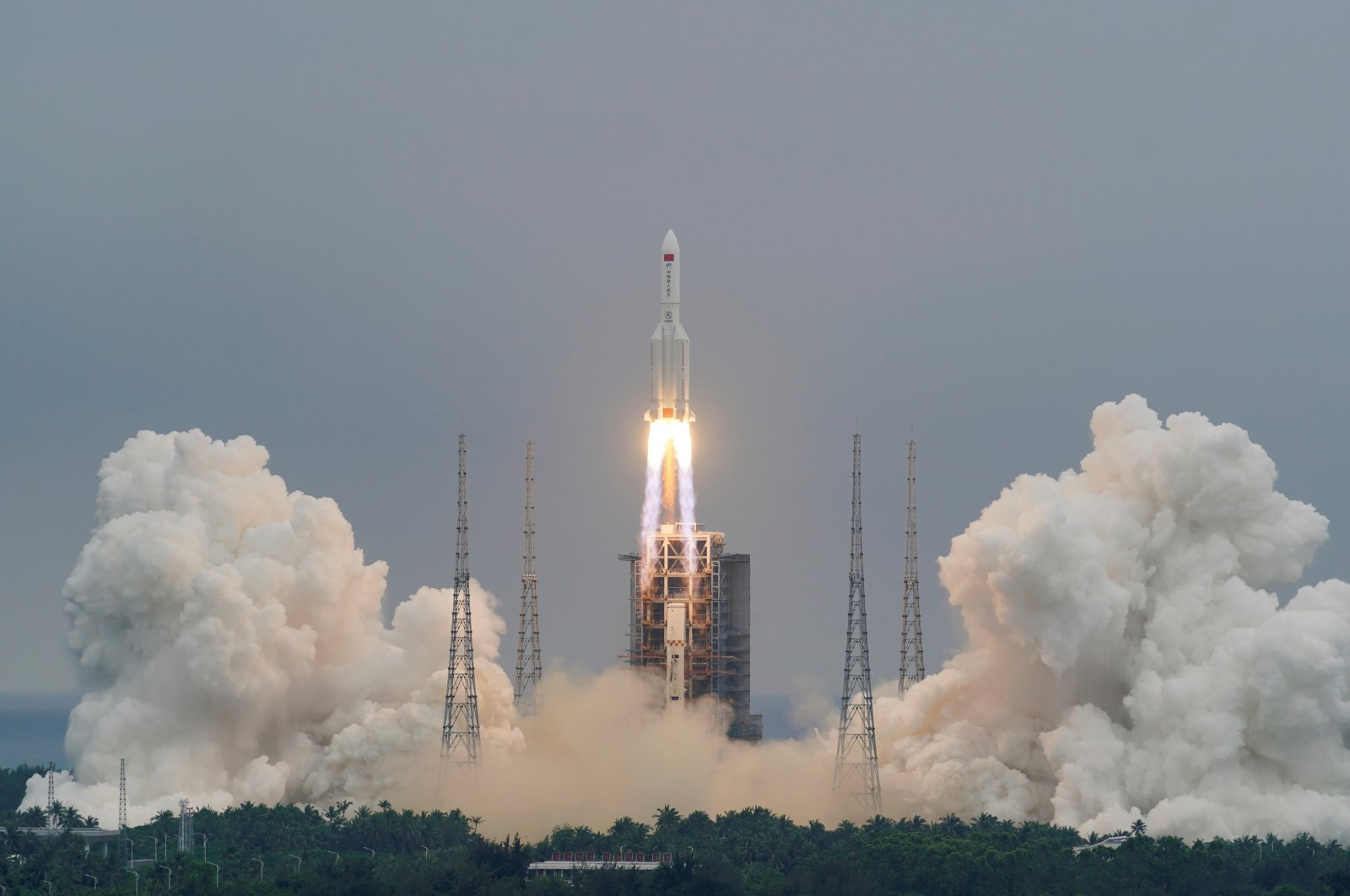The Long March-5B Y2 rocket takes off, in Hainan, China, April 29, 2021. (REUTERS PHOTO)