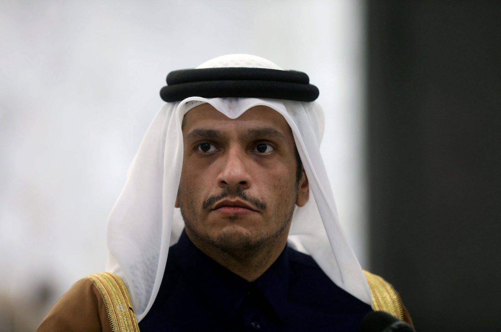 Qatari foreign minister Sheikh Mohammed bin Abdulrahman Al Thani is pictured at the presidential palace in Baabda, Lebanon, Feb. 9, 2021. (Reuters Photo)