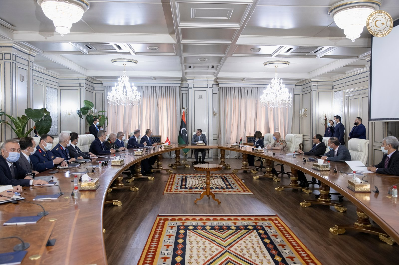 Turkish and Libyan senior officials gather for a meeting in Tripoli, Libya, May 3, 2021. (Reuters Photo)