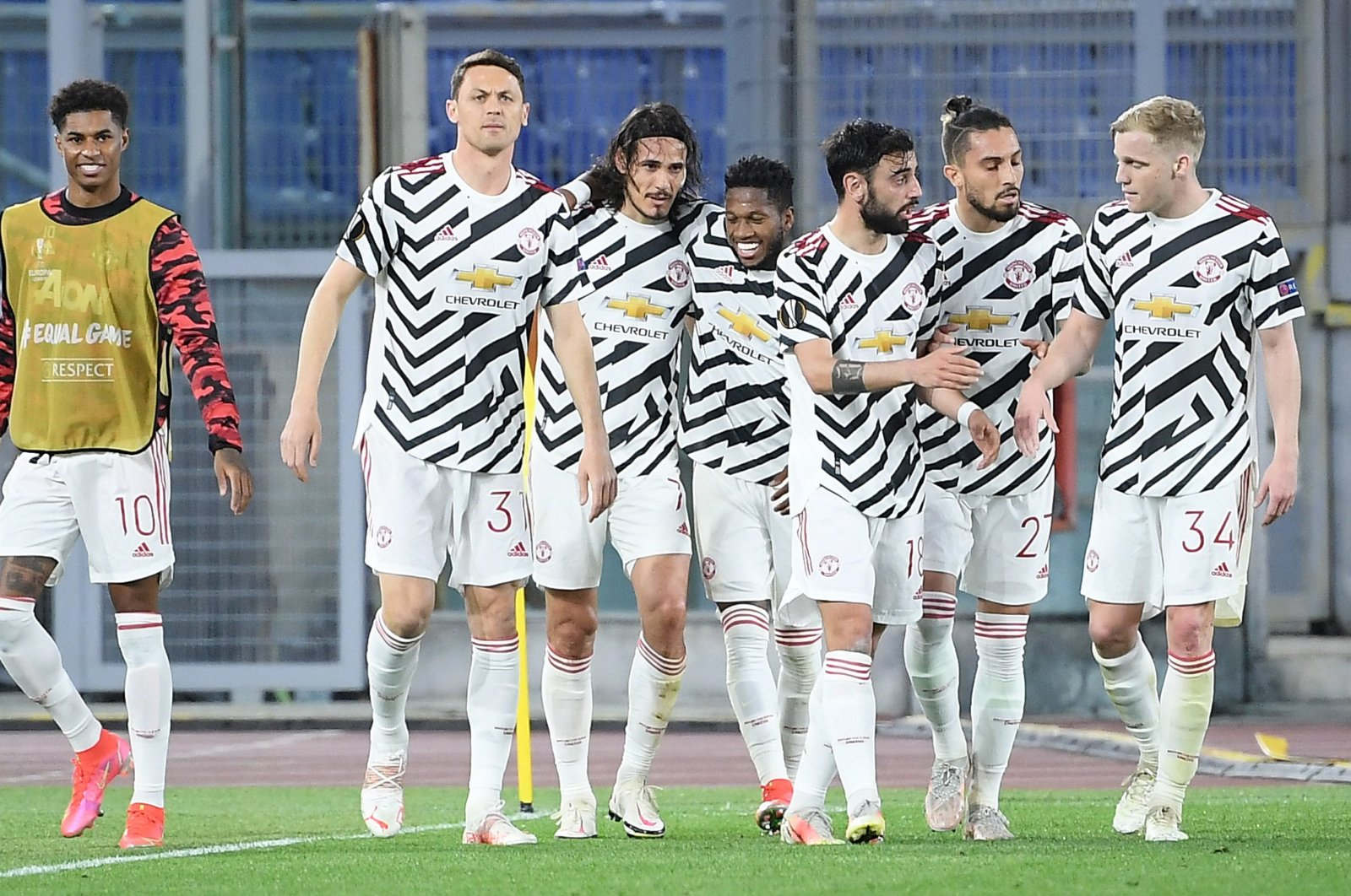 Manchester United players celebrate a goal during a UEFA Europa League match against AS Roma at the Olimpico stadium in Rome, Italy, May 6, 2021. (EPA Photo)
