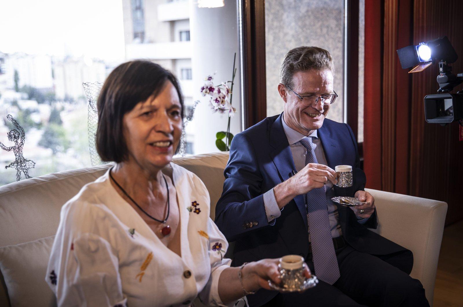 Nikolaus Meyer-Landrut, head of the EU Delegation to Turkey together with his wife, Brigitte Meyer-Landrut, are seen in Ankara, Turkey, May 7, 2021. (AA Photo)