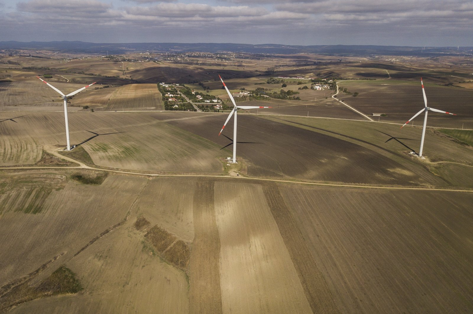 An aerial picture shows wind turbines in the countryside, Istanbul, Turkey, Oct. 22, 2020. (EPA Photo)