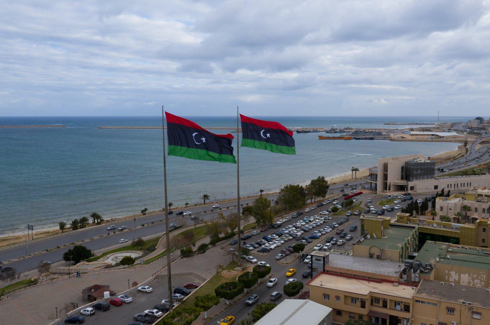 Libyan flags flying over the capital Tripoli, Libya, Feb. 14, 2021. (Shutterstock Photo)