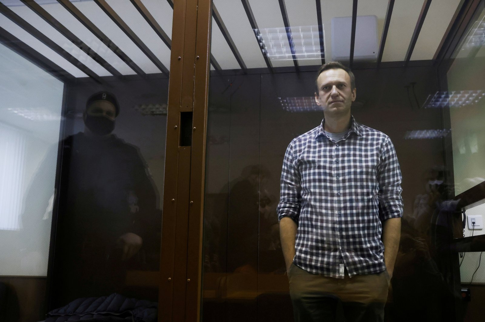 Russian opposition leader Alexei Navalny attends a hearing to consider an appeal against an earlier court decision to change his suspended sentence to a real prison term, Moscow, Russia Feb. 20, 2021. (Reuters Photo)