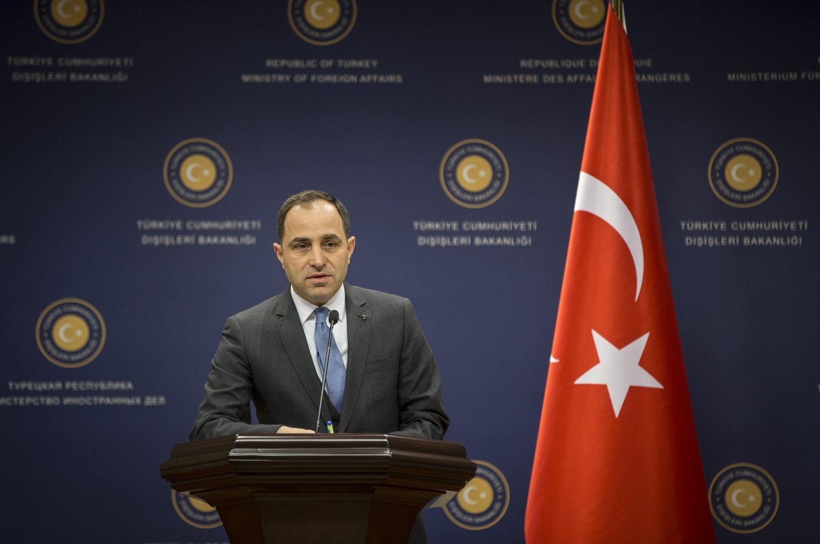 Foreign Ministry spokesperson Tanju Bilgiç speaks at a news conference in Ankara, Turkey. (AA File Photo)