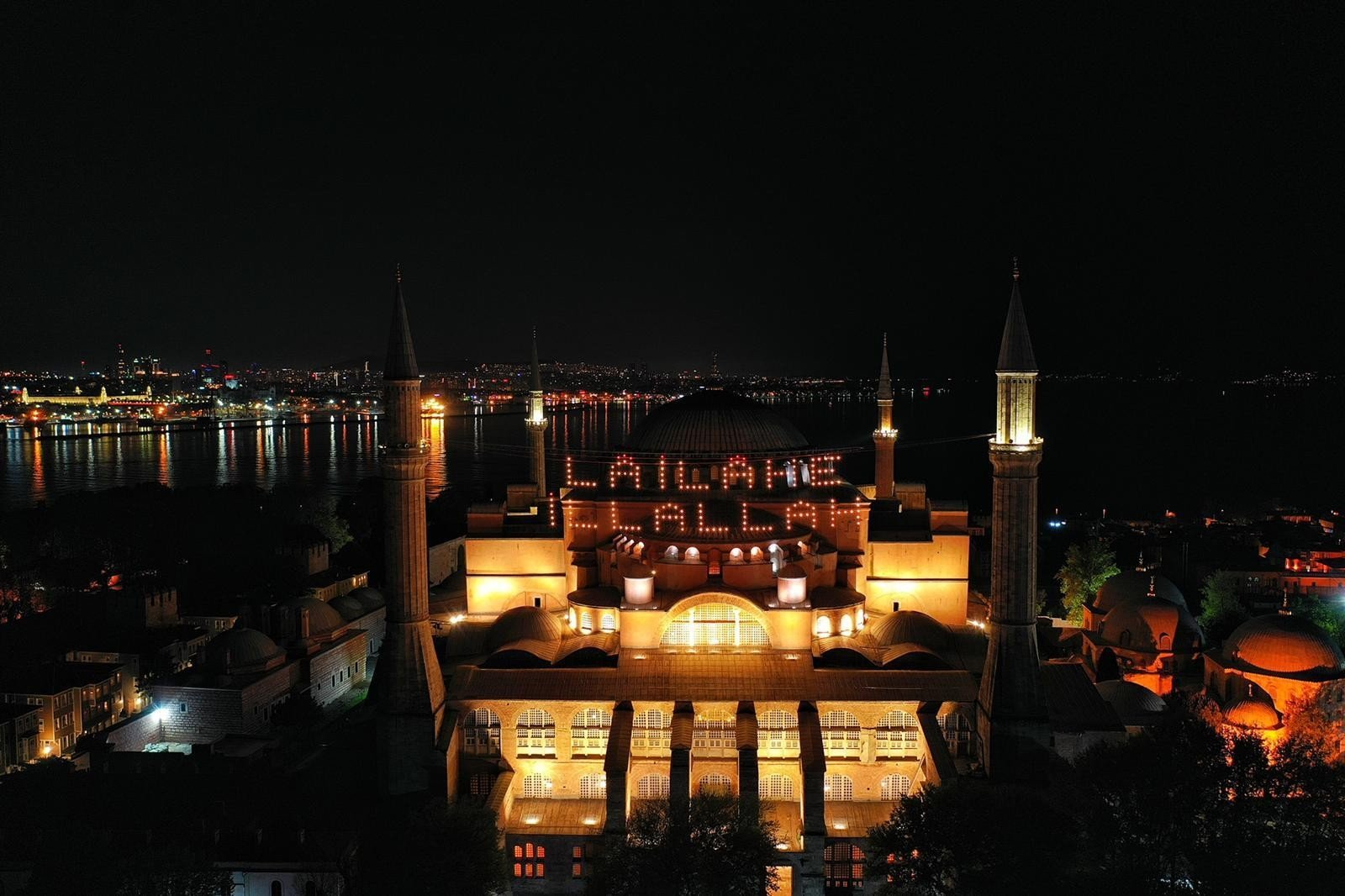 The Hagia Sophia Grand Mosque is seen in this aerial picture after it was adorned with traditional Ramadan mahya, in Istanbul, Turkey, May 7, 2021. (IHA Photo)