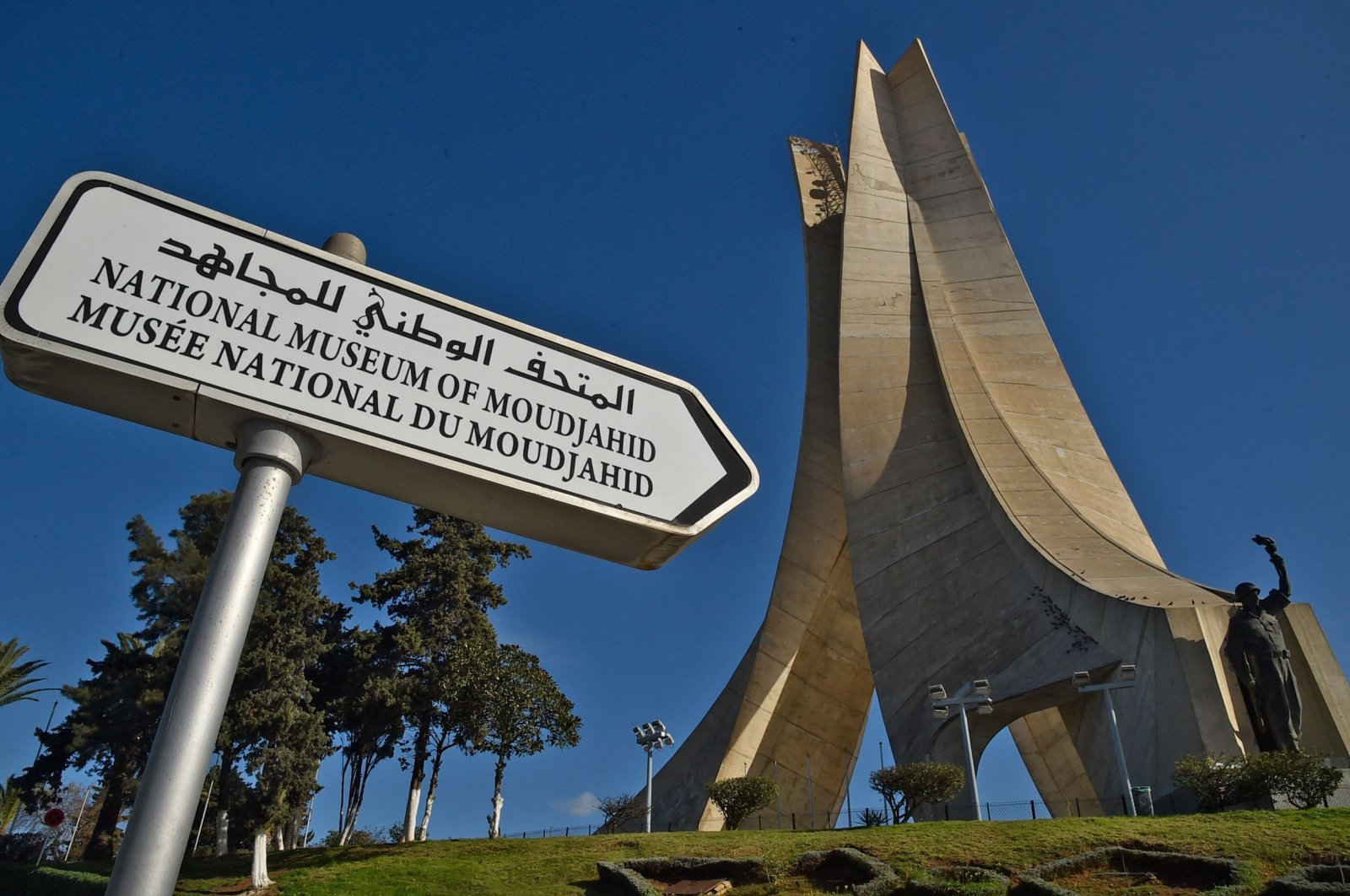 The Maqam Echahid, a concrete monument commemorating the Algerian war for independence, seen in Algiers, Algeria, Jan. 21, 2021. (AFP Photo)