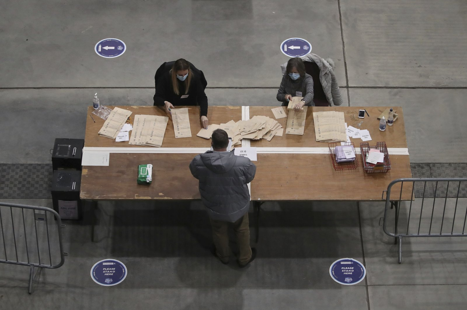 Ballots are counted for the Scottish Parliamentary Elections in Aberdeen, Scotland, the U.K., Friday May 7, 2021. (PA via AP)