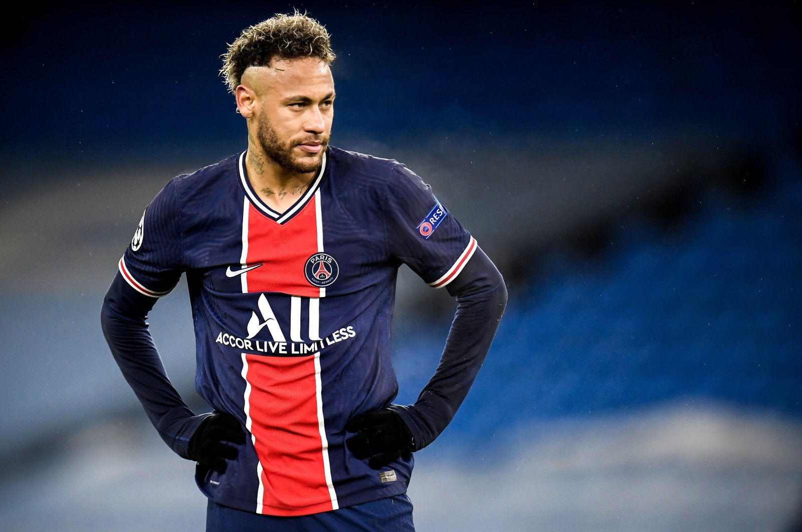 Neymar reacts after losing the UEFA Champions League semifinal, second leg soccer match between Manchester City and Paris Saint-Germain in Manchester, Britain, 04 May 2021.  (EPA-EFE Photo)