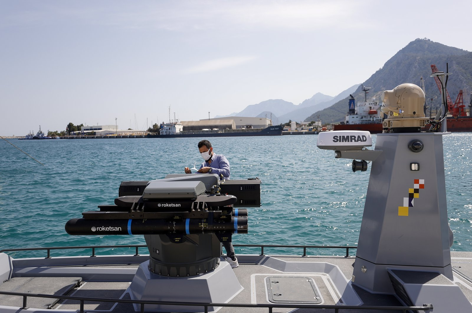 The armed unmanned marine vessel SIDA equipped with Roketsan missiles is seen at sea, Antalya, Turkey, May 8, 2021. (AA Photo)