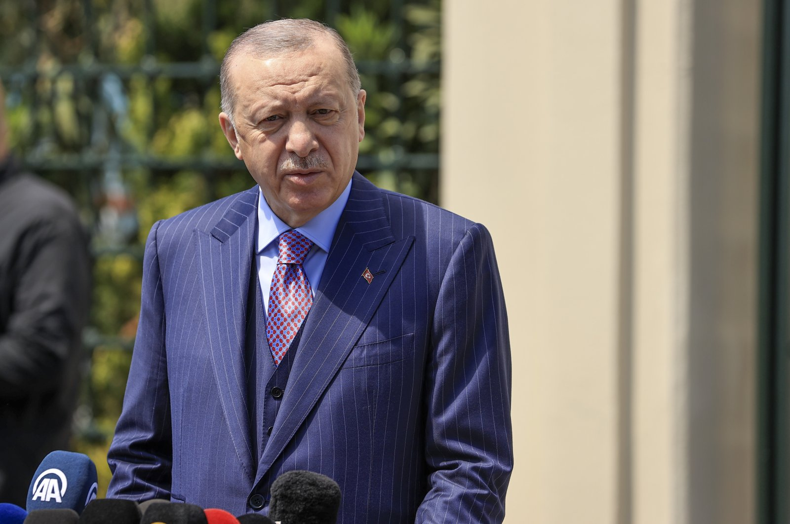 President Recep Tayyip Erdoğan speaks at the Ali Cami mosque after a Friday prayer, Istanbul, Turkey, May. 7, 2021. (AA Photo)