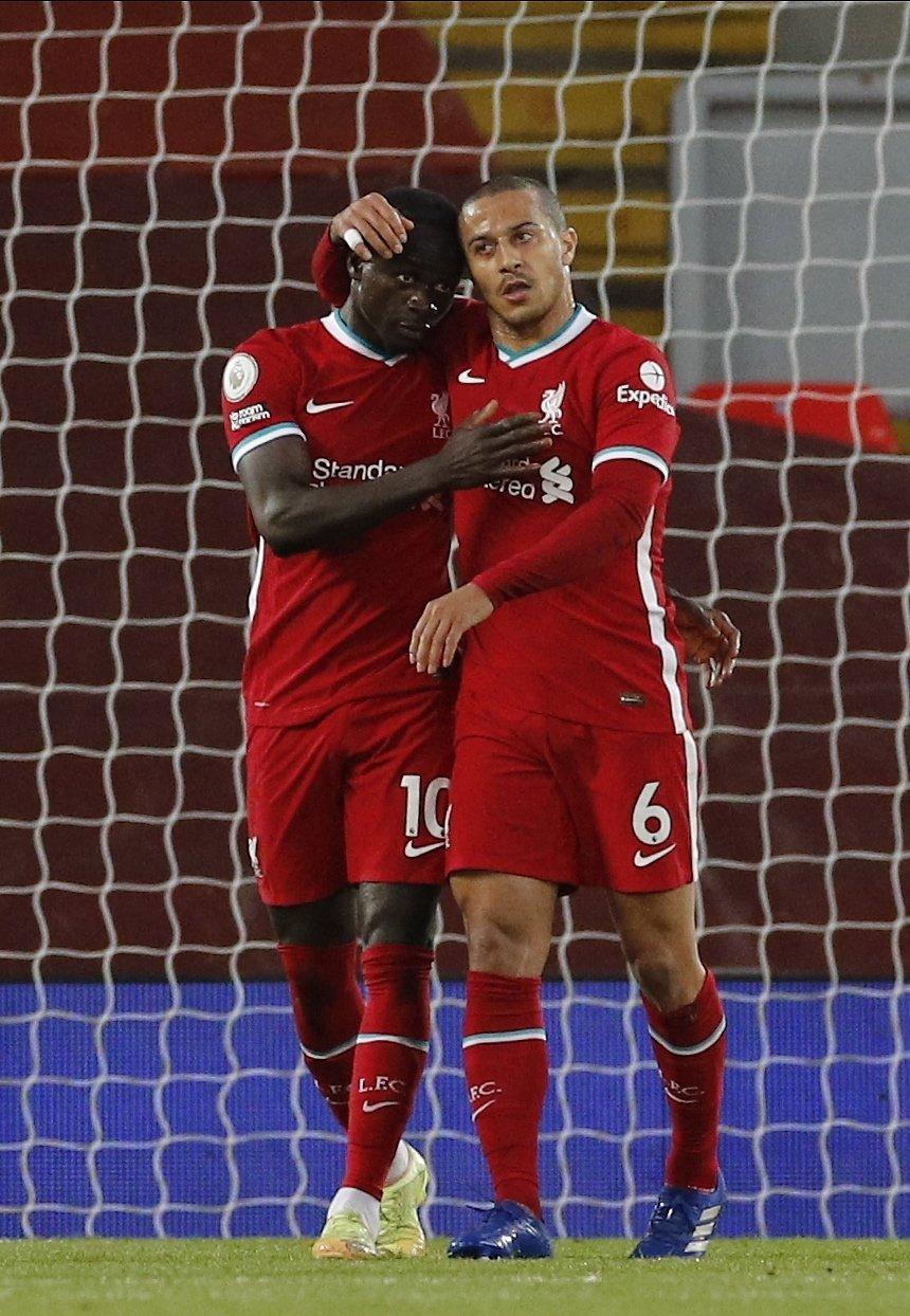 Liverpool's Sadio Mane (L) celebrates scoring a goal with teammate Thiago Alcantara during a Premier League match against Southampton, Liverpool, Britain, May 8, 2021. (EPA Photo)