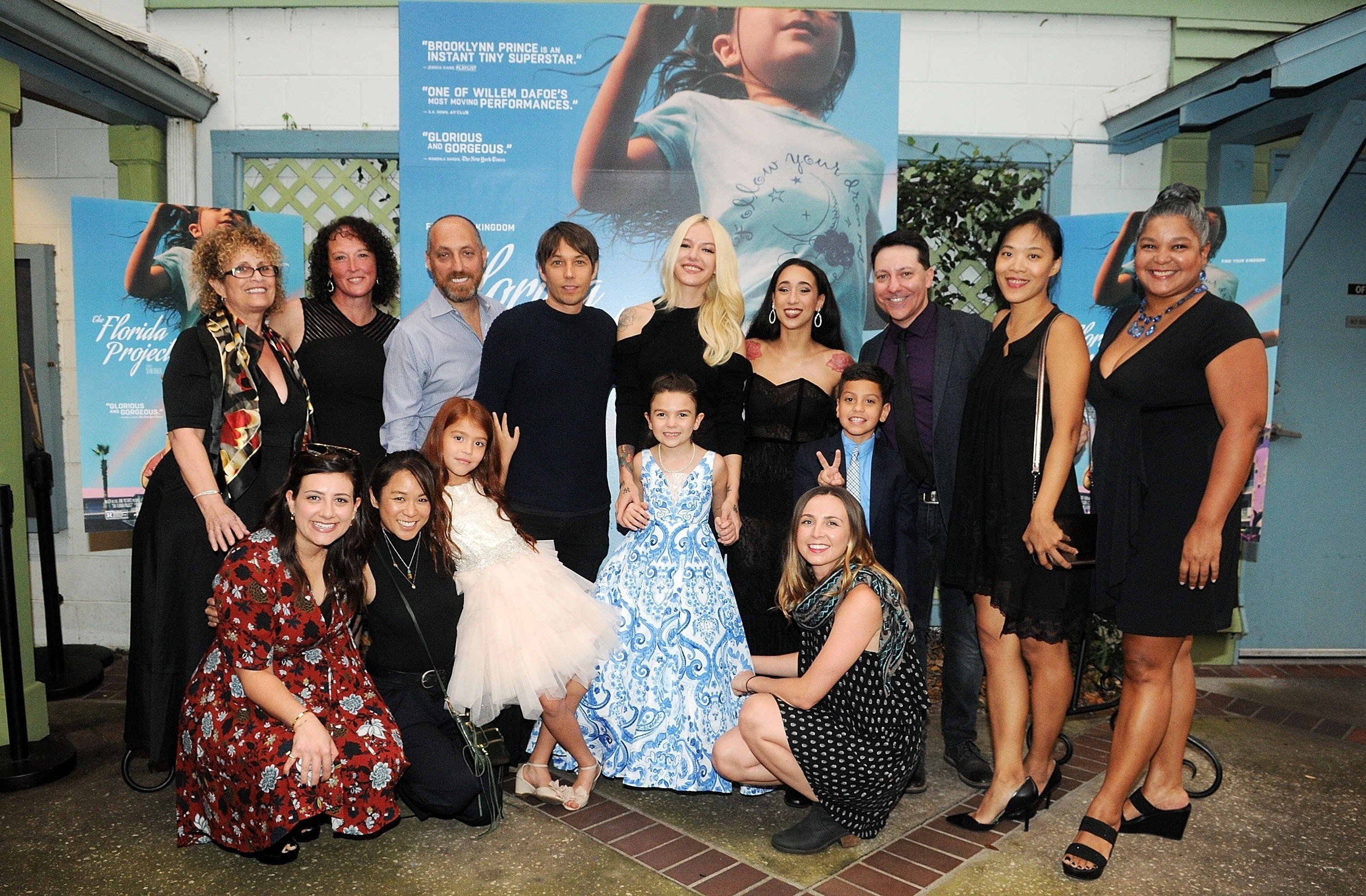 Cast and crew members of 'The Florida Project' pose during the Orlando premiere at The Enzian Theater on October 4, 2017 in Maitland, Florida.  (Getty Images for A24)