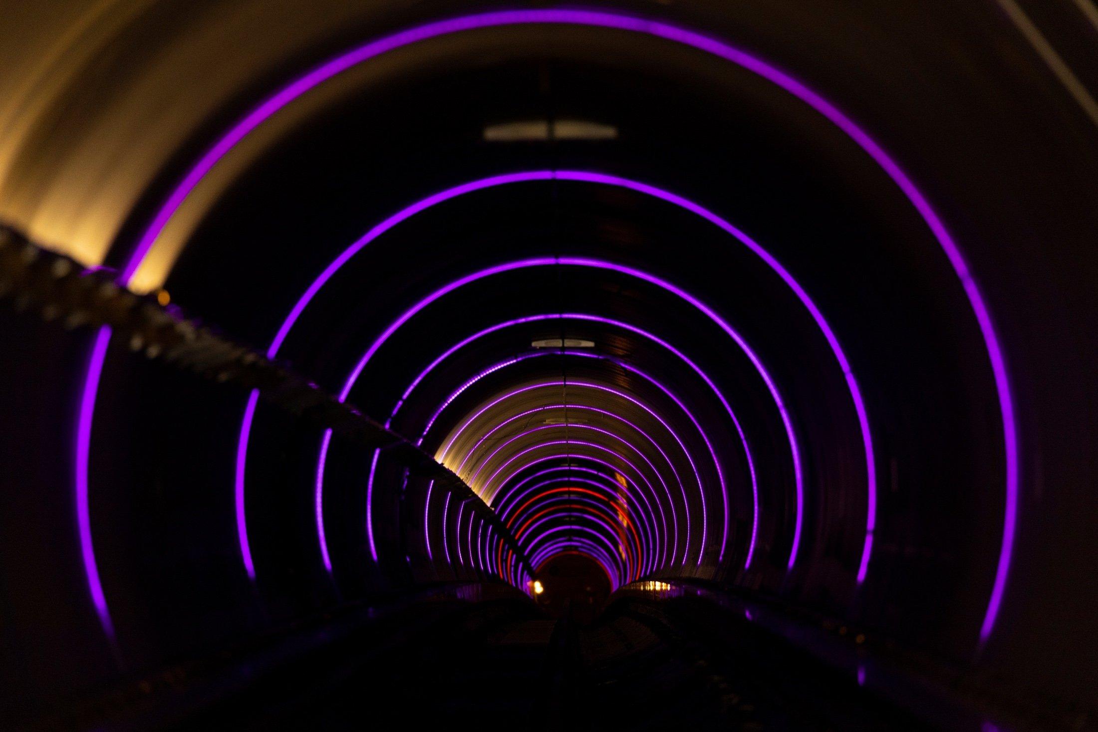 The inside of a test hyperloop tube is seen at the Virgin Hyperloop facility near Las Vegas, Nevada, U.S., May 5, 2021. (Reuters Photo)